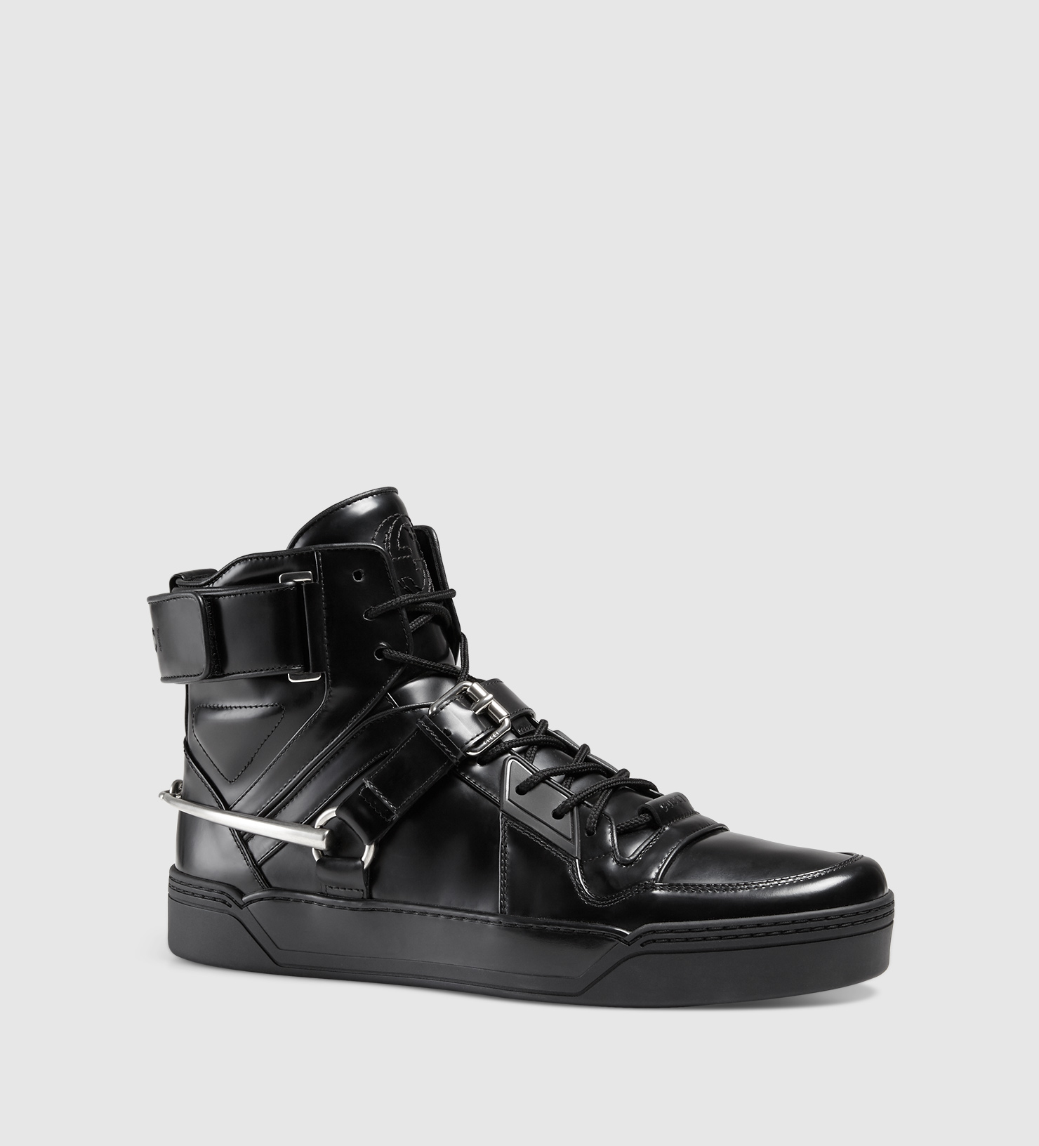 Gucci Leather Sneaker With Horsebit In Black For Men Lyst