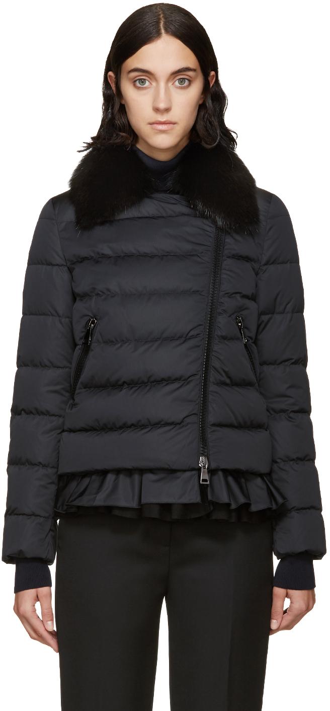 Moncler Black Down & Fur Chenonceau Jacket in Black | Lyst
