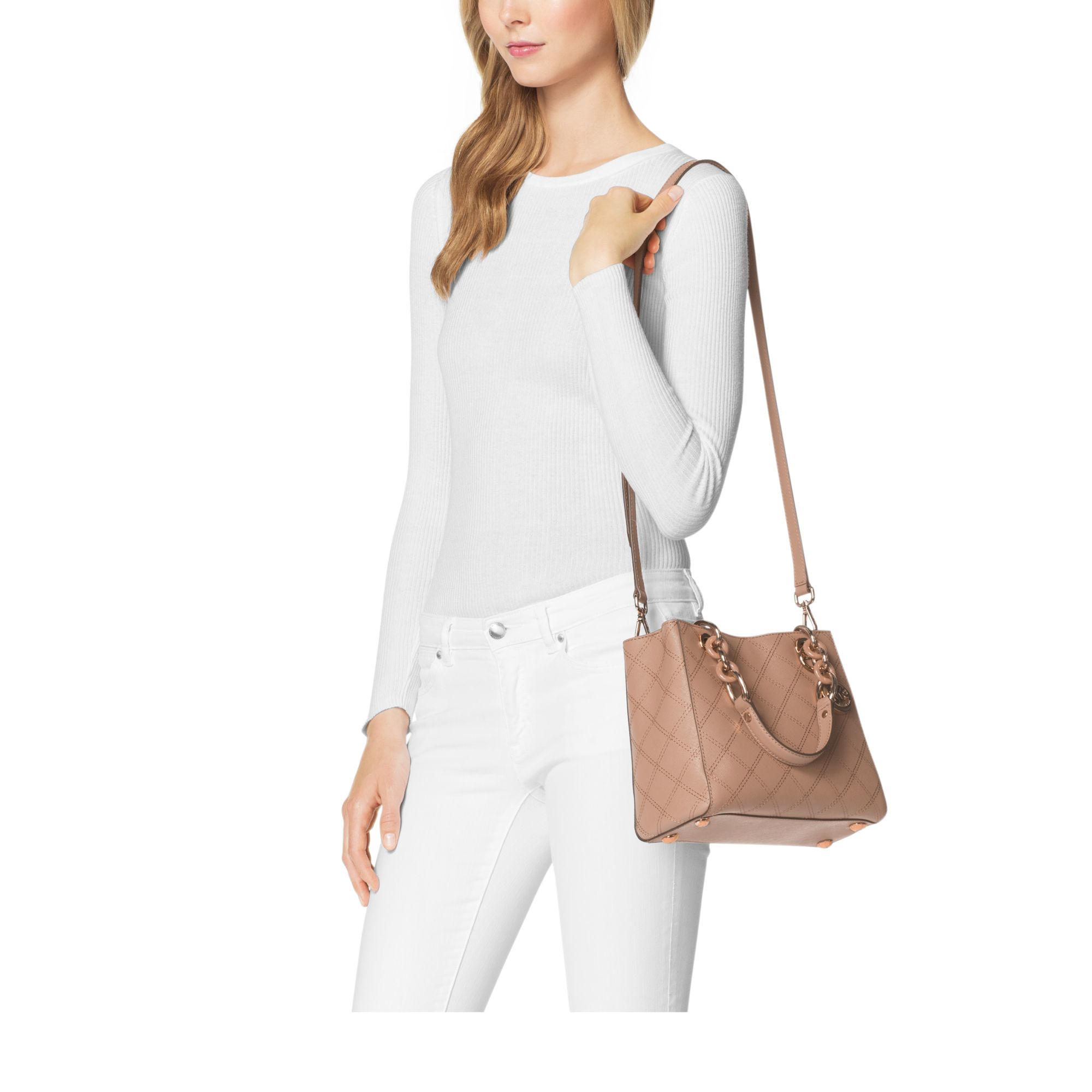 3e9755ad2f Lyst - Michael Kors Cynthia Small Saffiano-Leather Satchel .