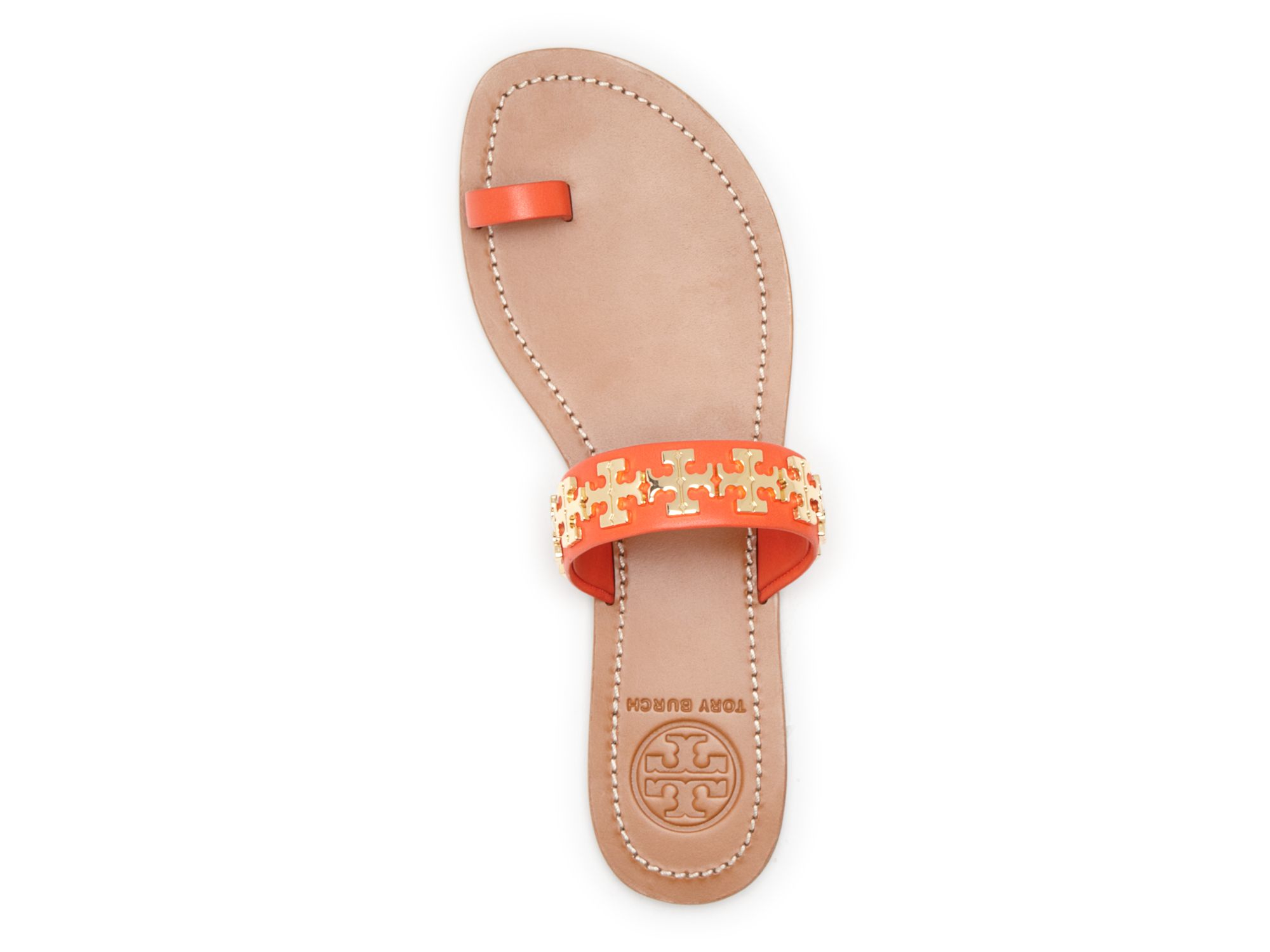 43751f036 Tory Burch Logo Toe Ring Flat Sandals - Val in Red - Lyst