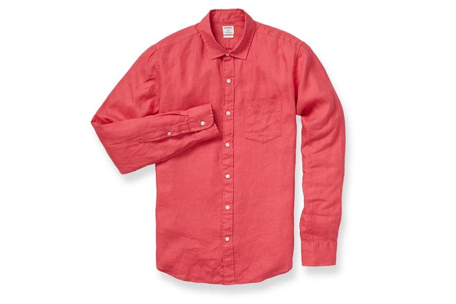 Bonobos irish linen shirt in red for men lyst for Irish linen dress shirts