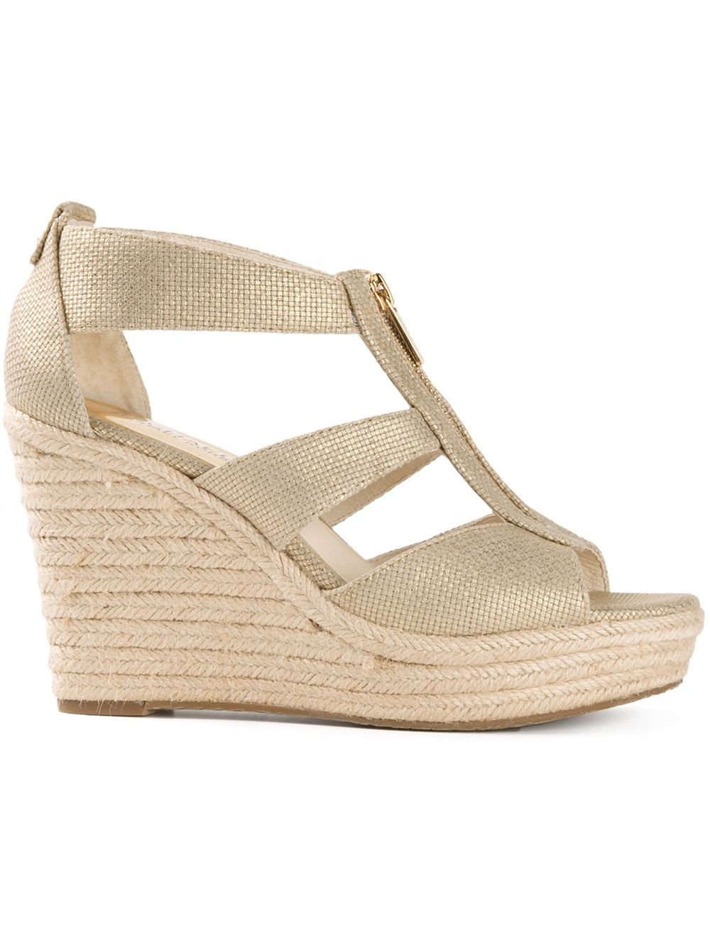 43e44a4d6c99 Lyst - MICHAEL Michael Kors Damita Wedge Sandals in Natural