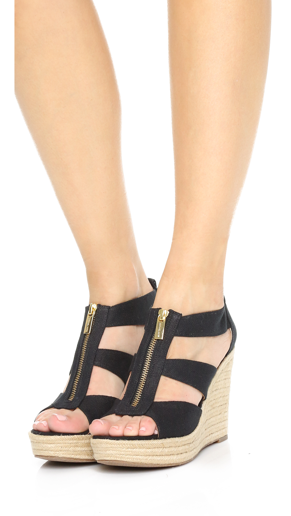 2690e1faa456 MICHAEL Michael Kors Damita Wedge Sandals in Black - Lyst