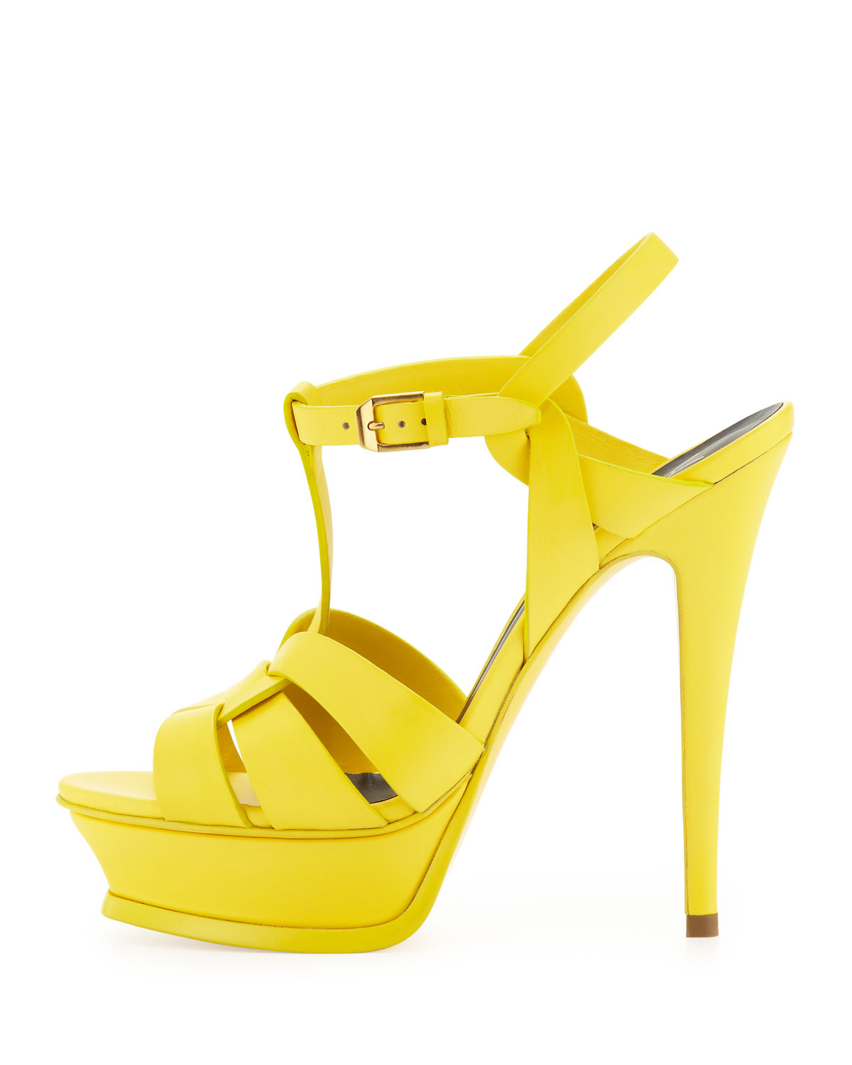 846b35eadc1 Lyst - Saint Laurent Womens Tribute High-Heel Leather Sandal Mustard ...