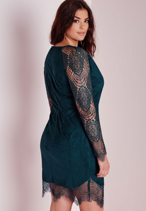 Lyst Missguided Plus Size Lace Sleeve Midi Dress Teal In Blue