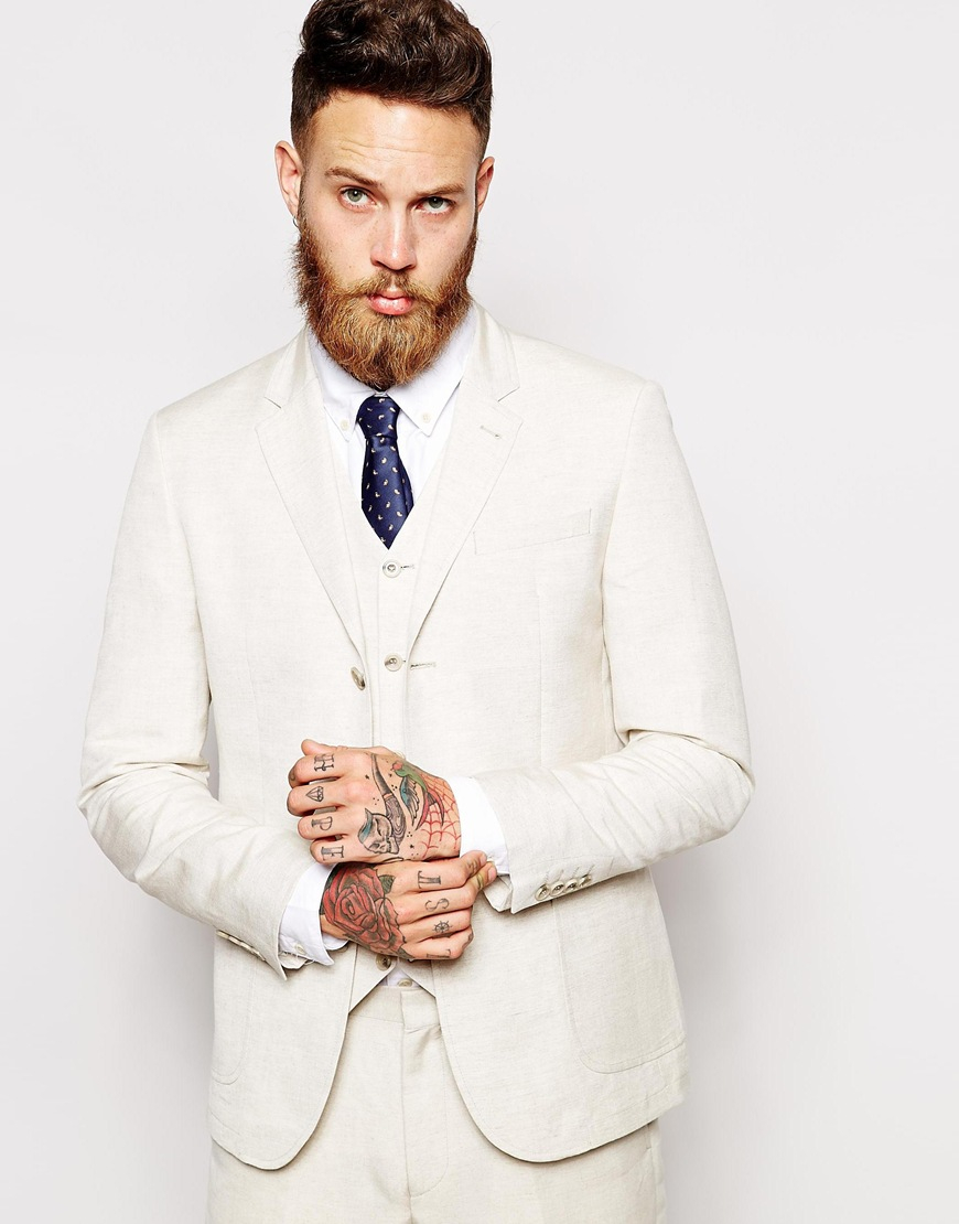 Asos Slim Fit Suit Jacket In Linen Mix in White for Men | Lyst