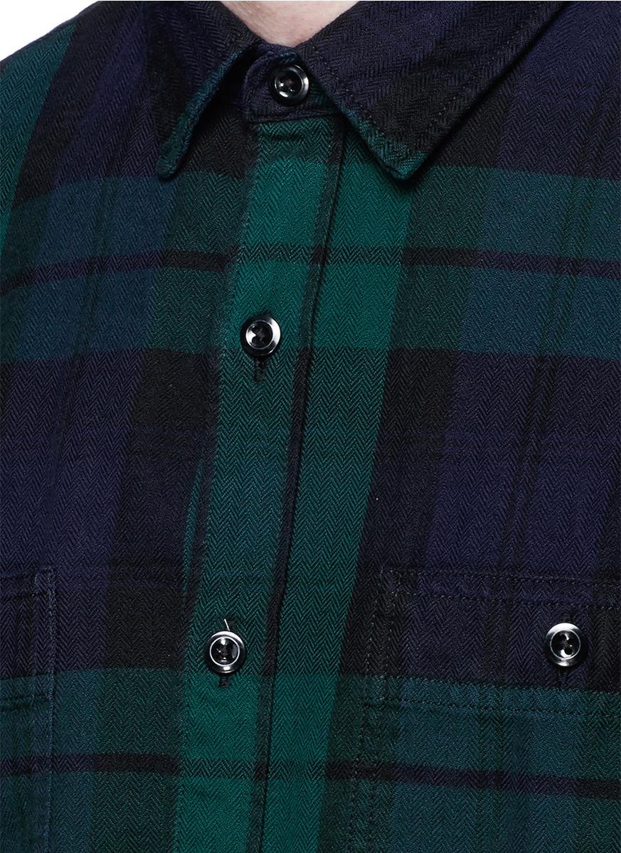 herringbone flannel shirt in black watch plaid for