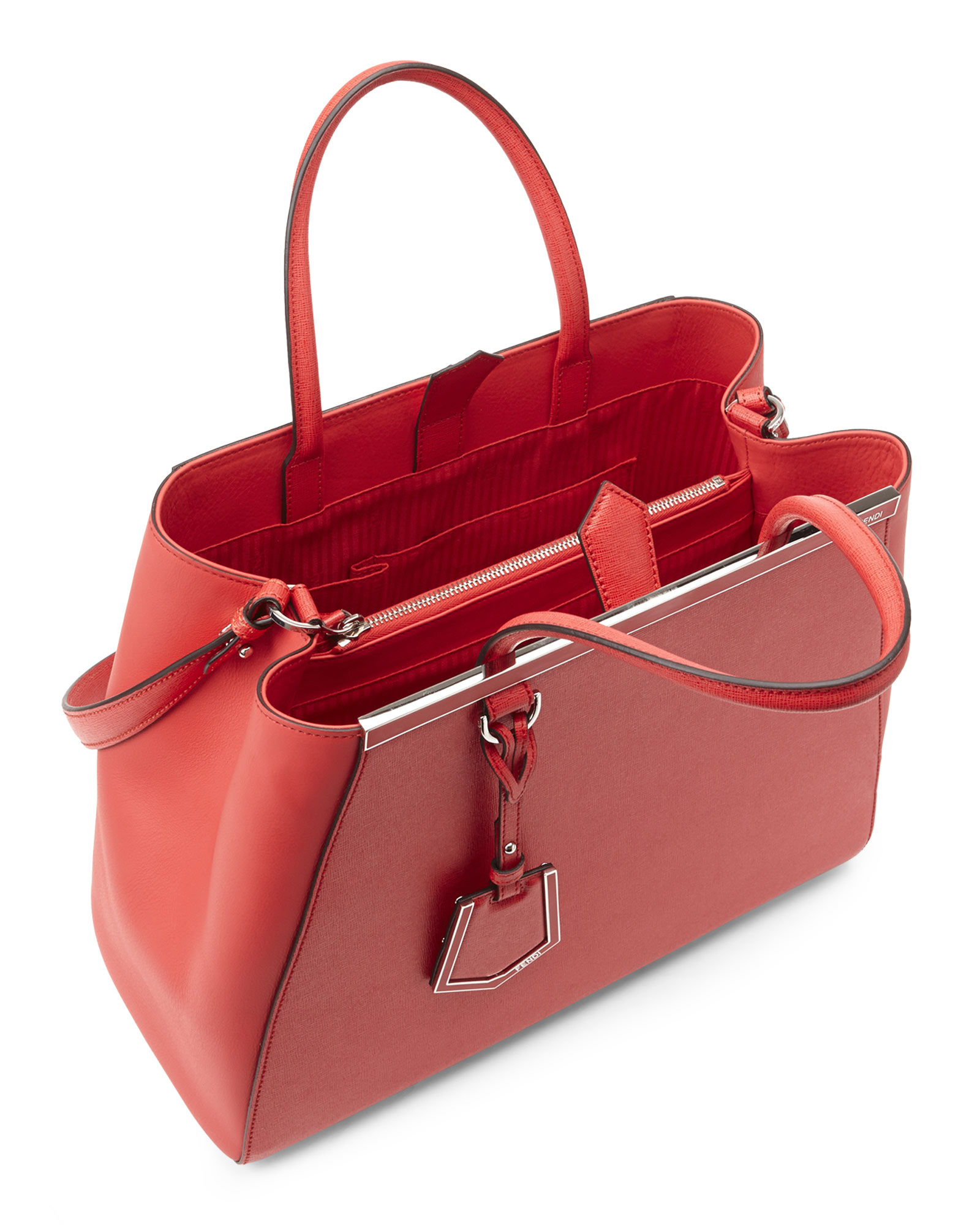 7685d993fb0e Lyst - Fendi Coral 2Jours Convertible Tote in Red