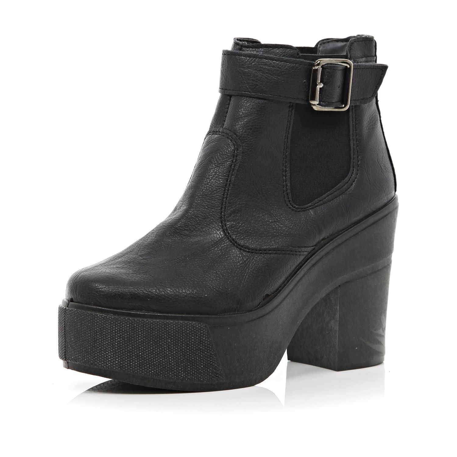 river island black chunky block heel ankle boots in black