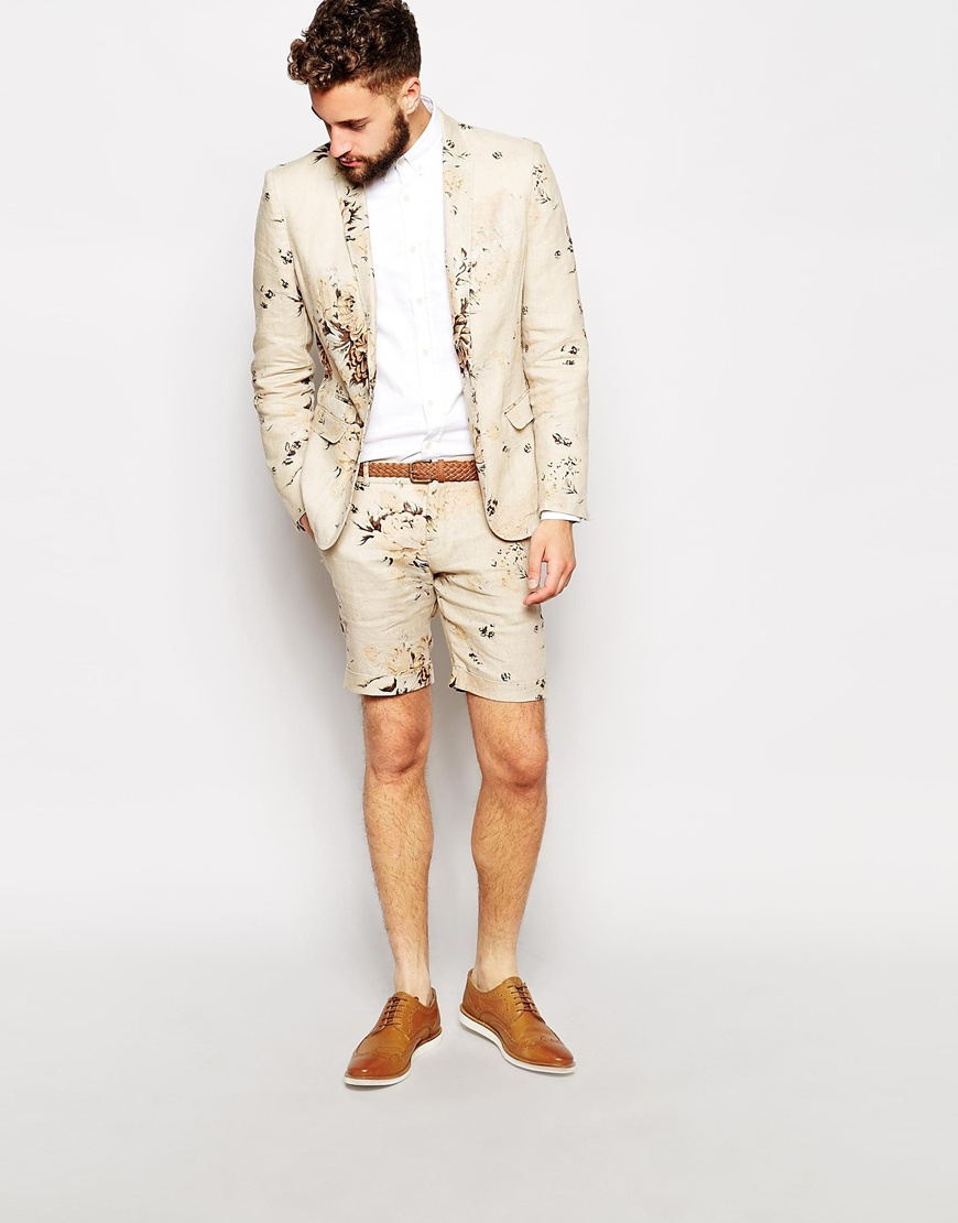 Lyst Selected Floral Suit Shorts In Natural For Men