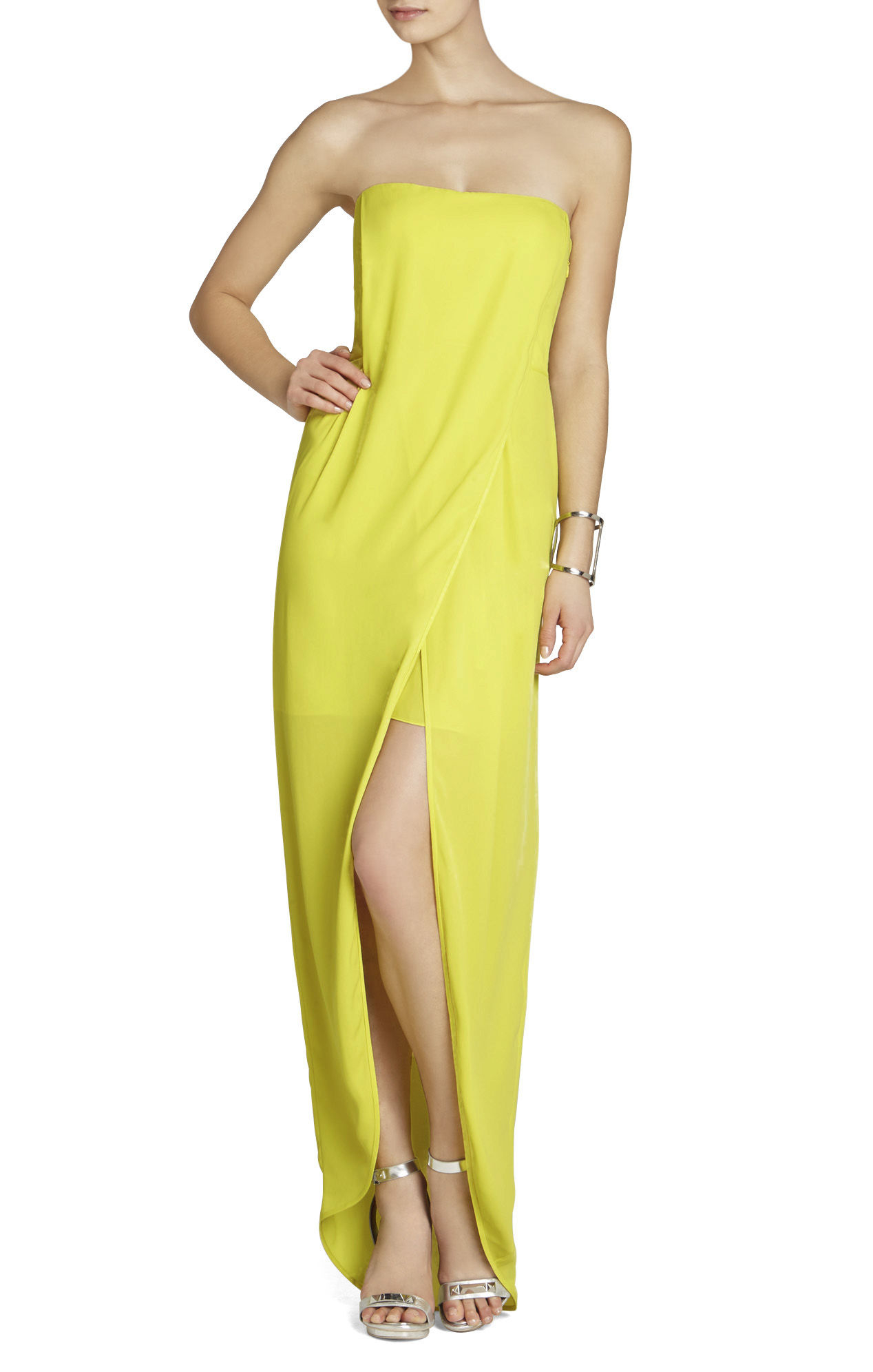 5b63ae6dce31 BCBGMAXAZRIA Jesse Draped Strapless Gown in Yellow - Lyst