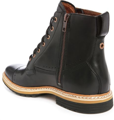 timberland black leather boots with side zip in black for