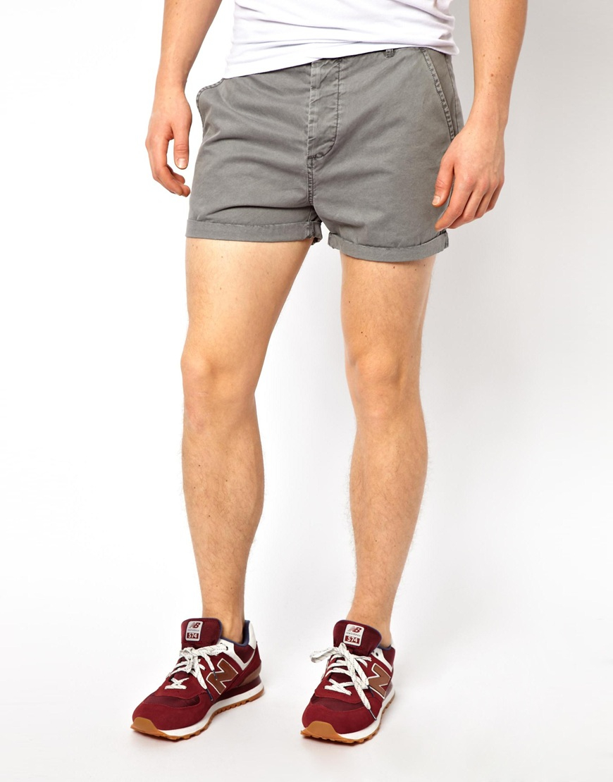 Lyst - Asos Chino Shorts In Shorter Length in Gray for Men