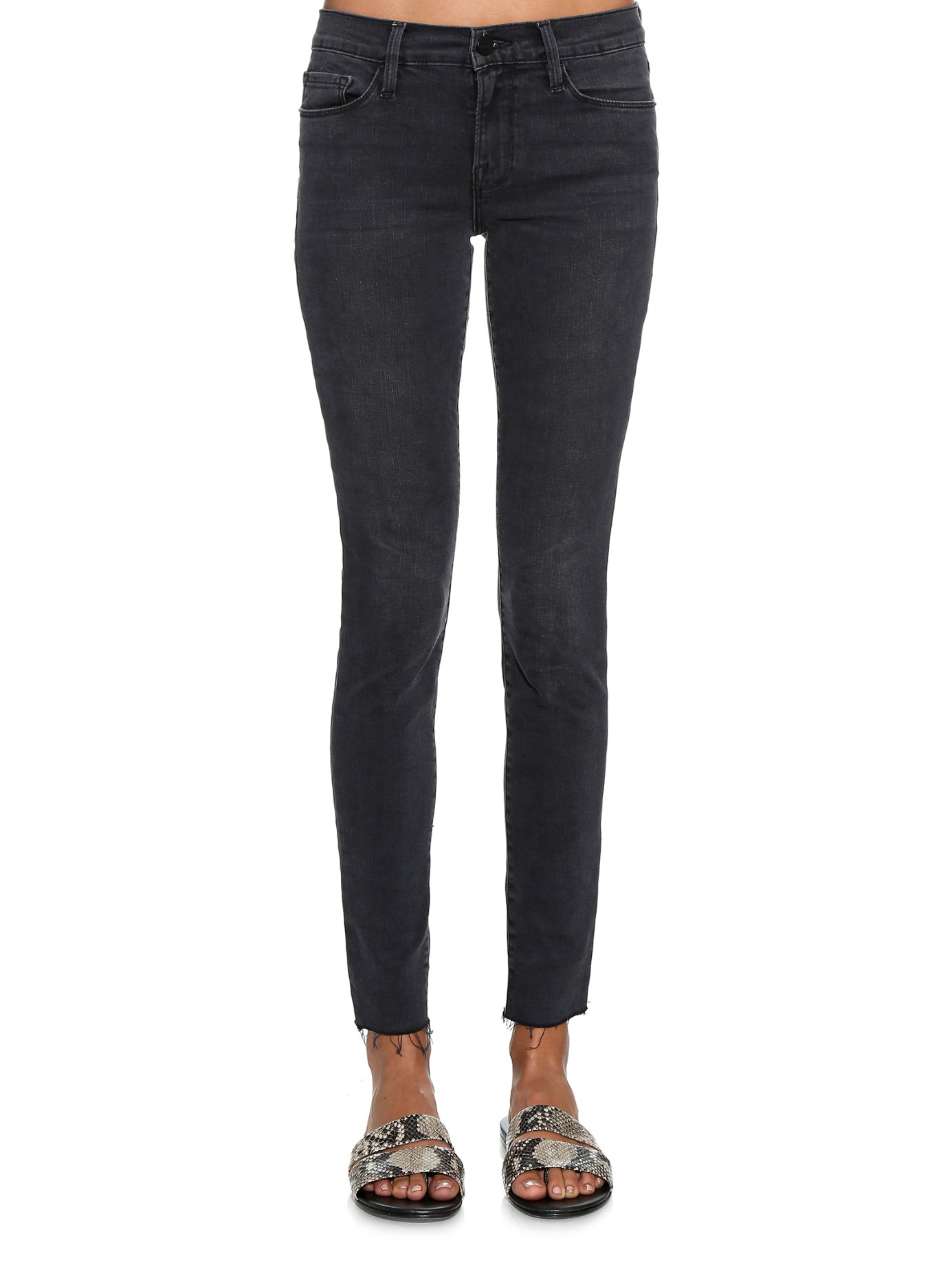 Le Skinny De Jeanne Distressed High-rise Jeans - Dark gray Frame Denim sibMnxW