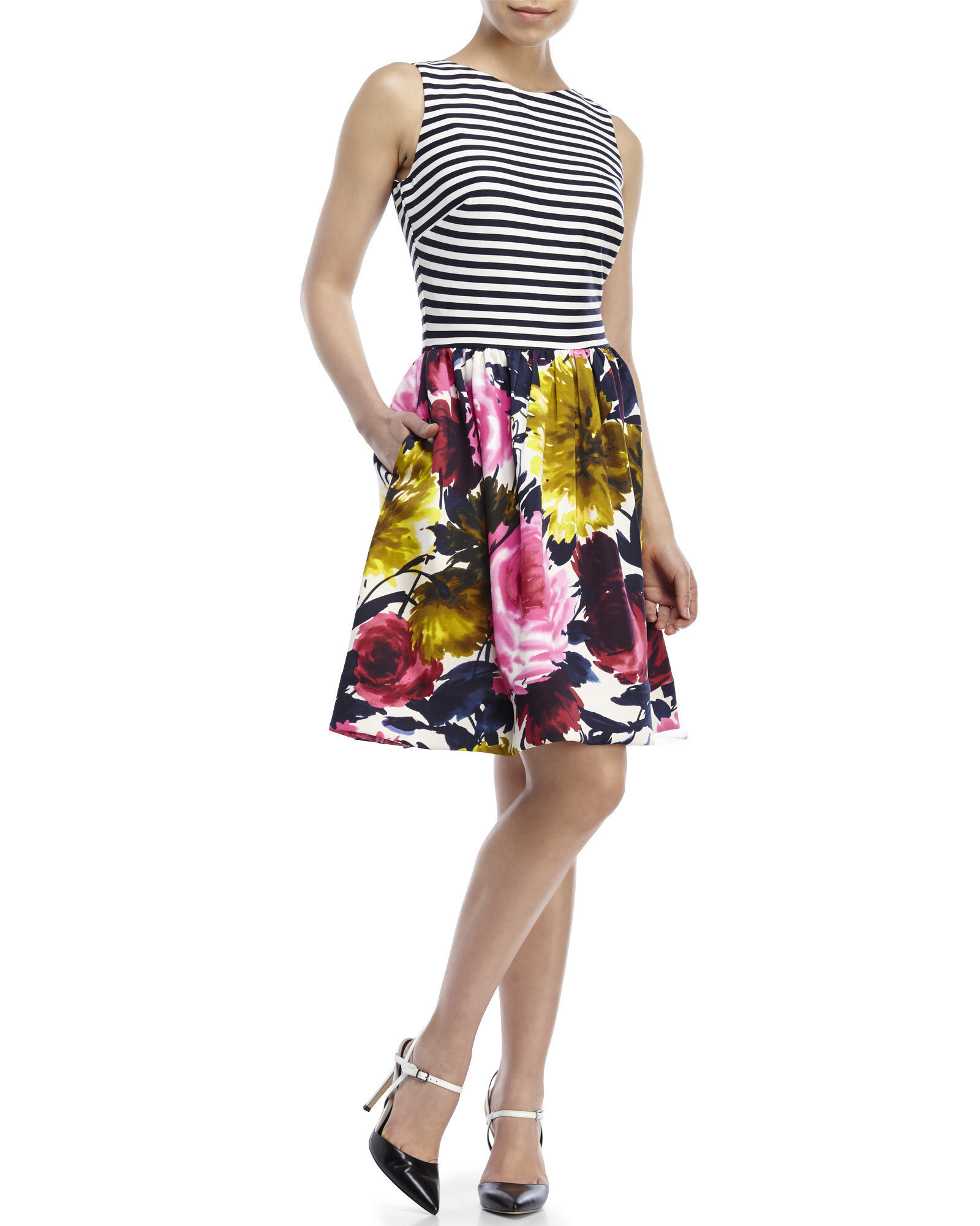 Lyst Just Taylor By Taylor Striped Floral Fit Amp Flare Dress