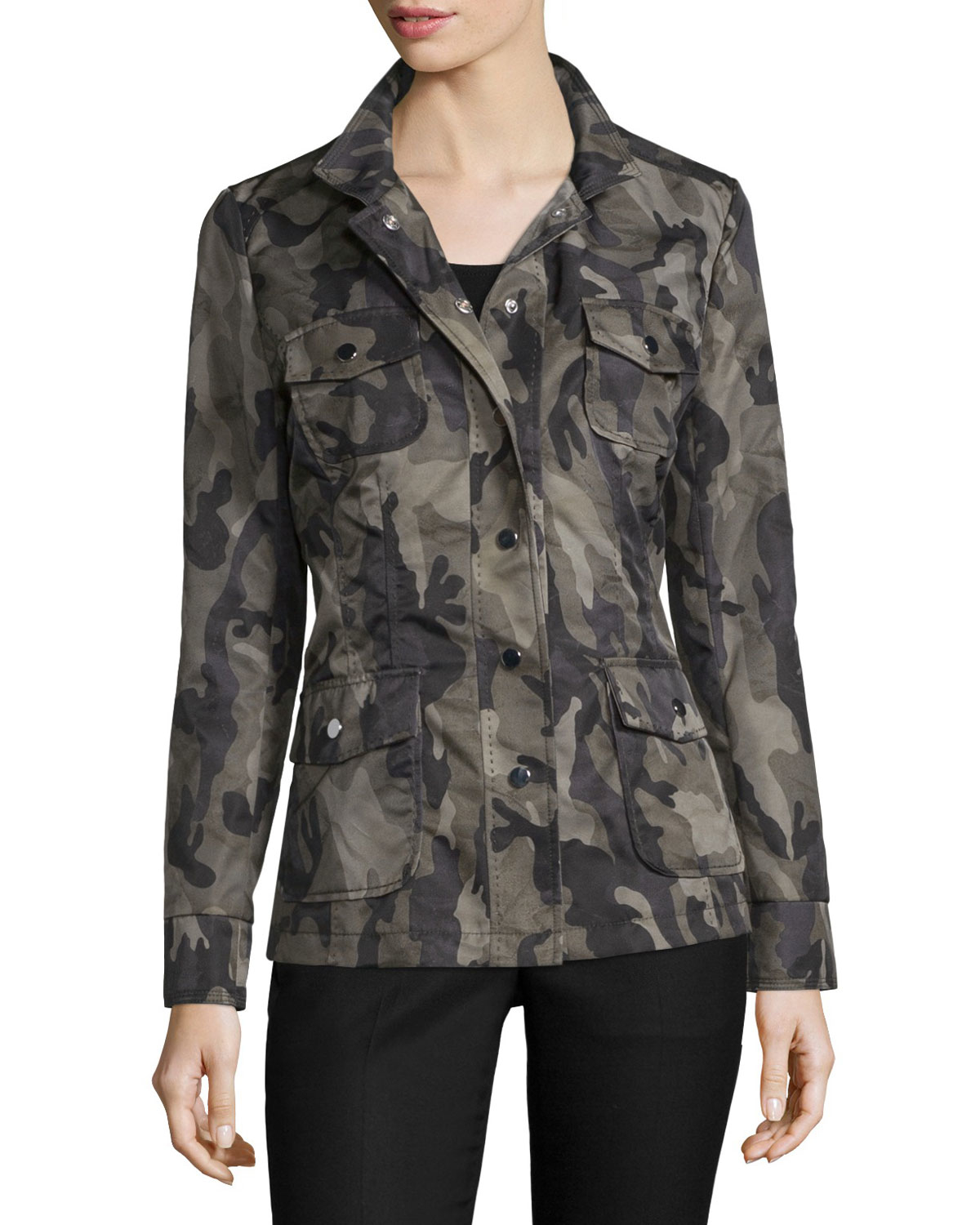 Jane post Crepe Camouflage-Print Jacket in Green