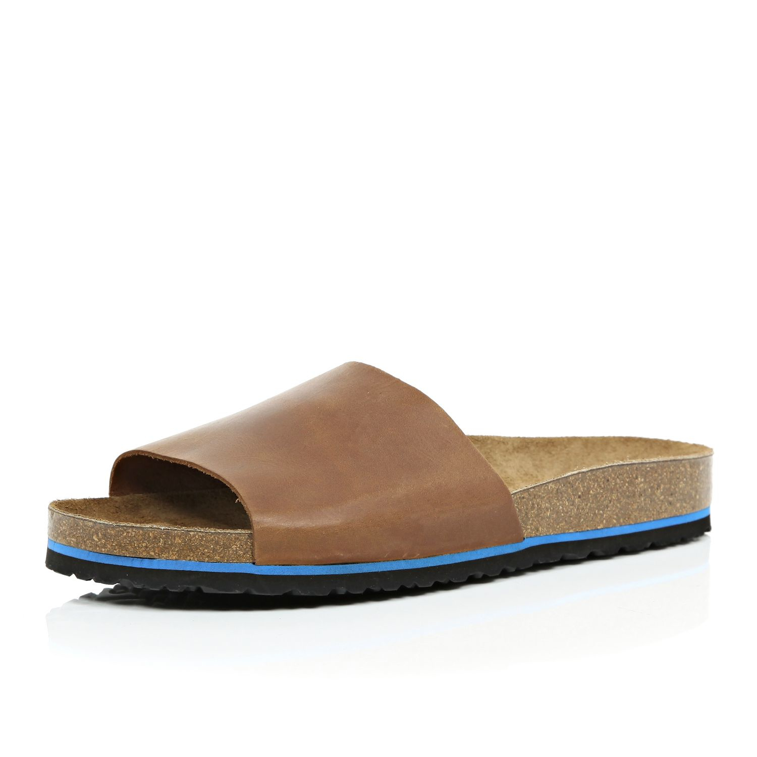 River Island Brown Leather Slide Sandals In Brown For Men