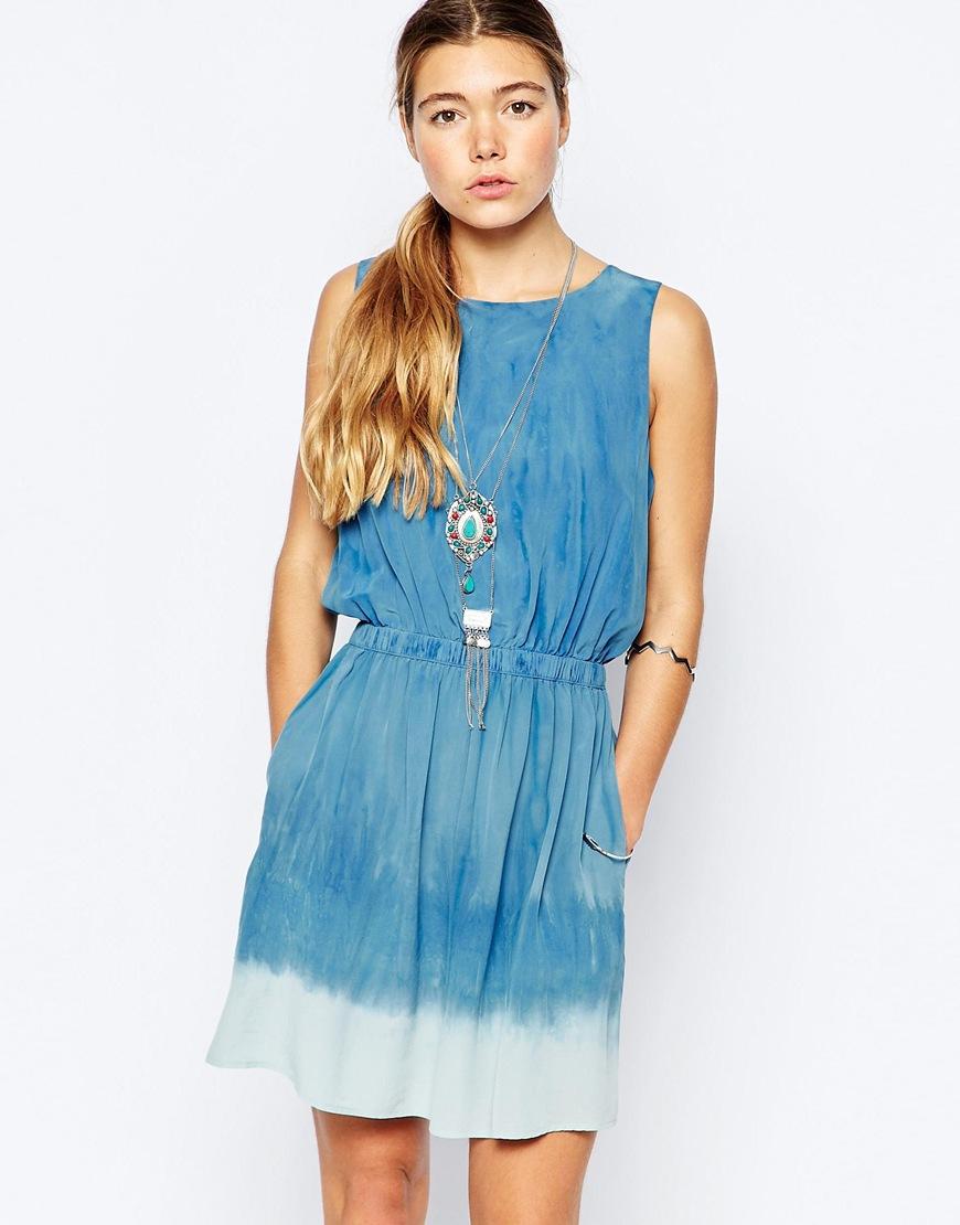 Lyst Gypsy 05 Open Back Silk Mini Dress In Blue
