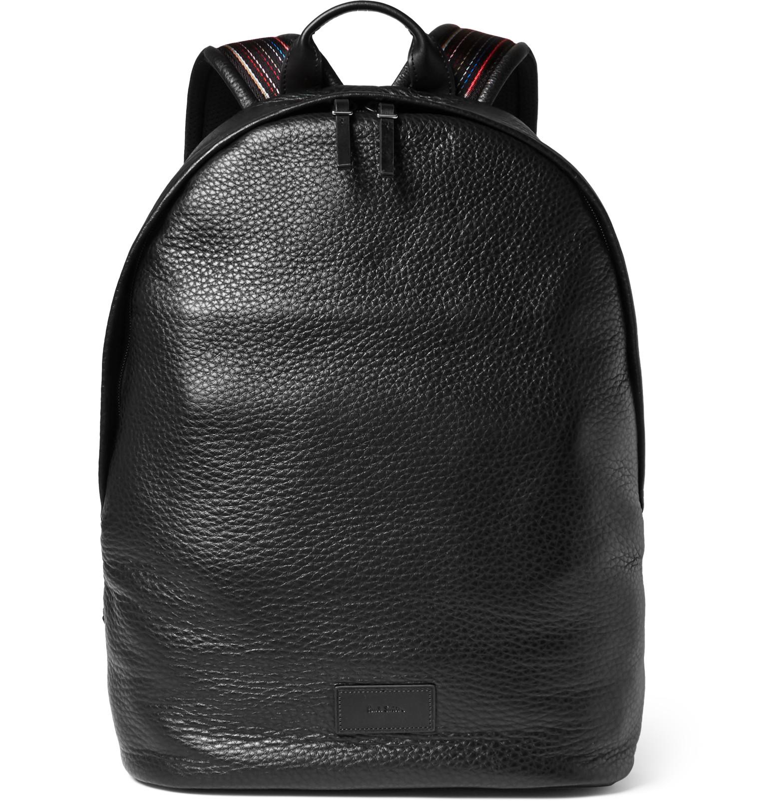 Paul Smith Full Grain Leather Backpack In Black For Men Lyst