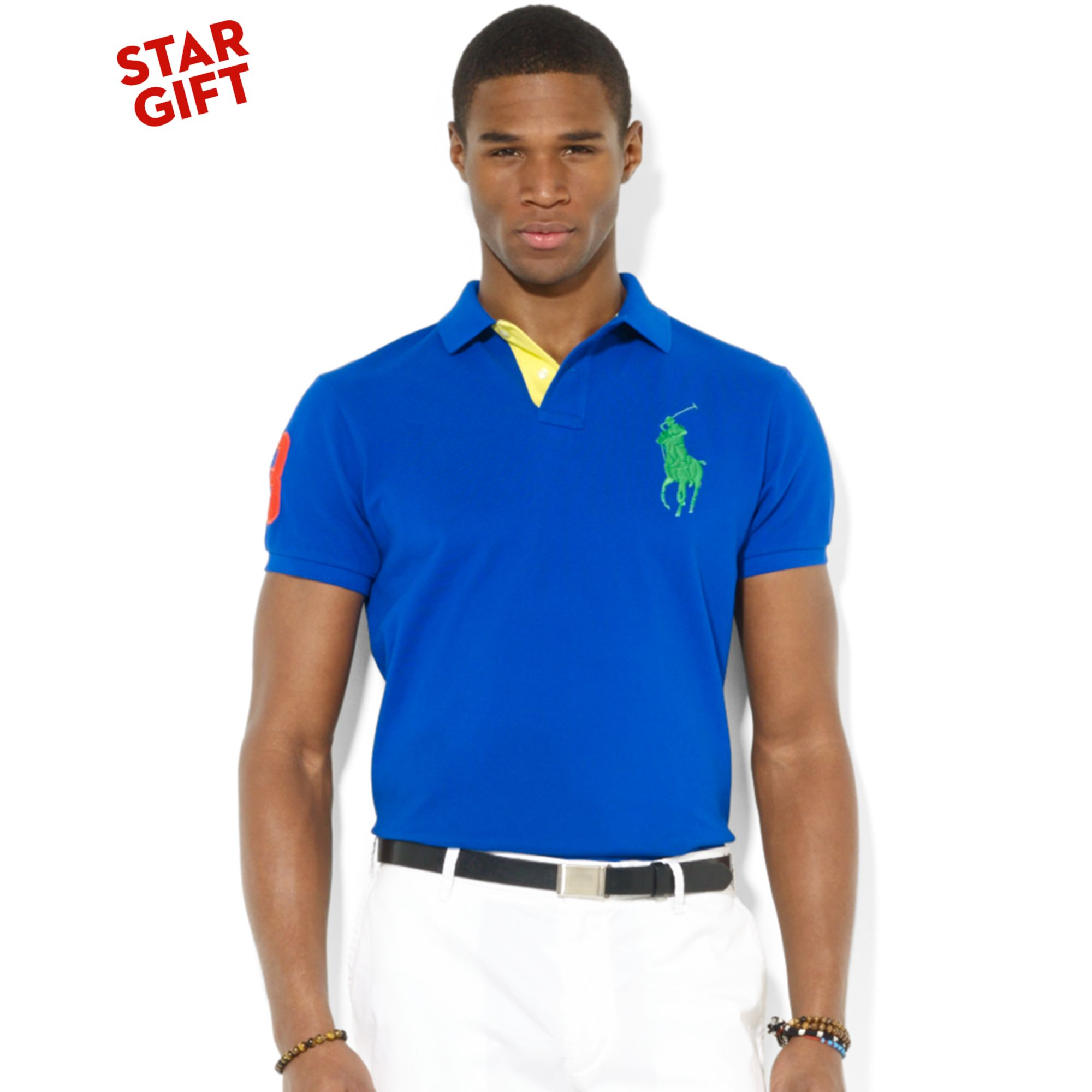 Ralph lauren men mesh black big pony polo blue for Ralph lauren custom fit mesh polo shirt