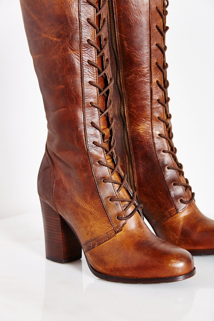 Frye Parker Lace Up Tall Boot In Brown Lyst