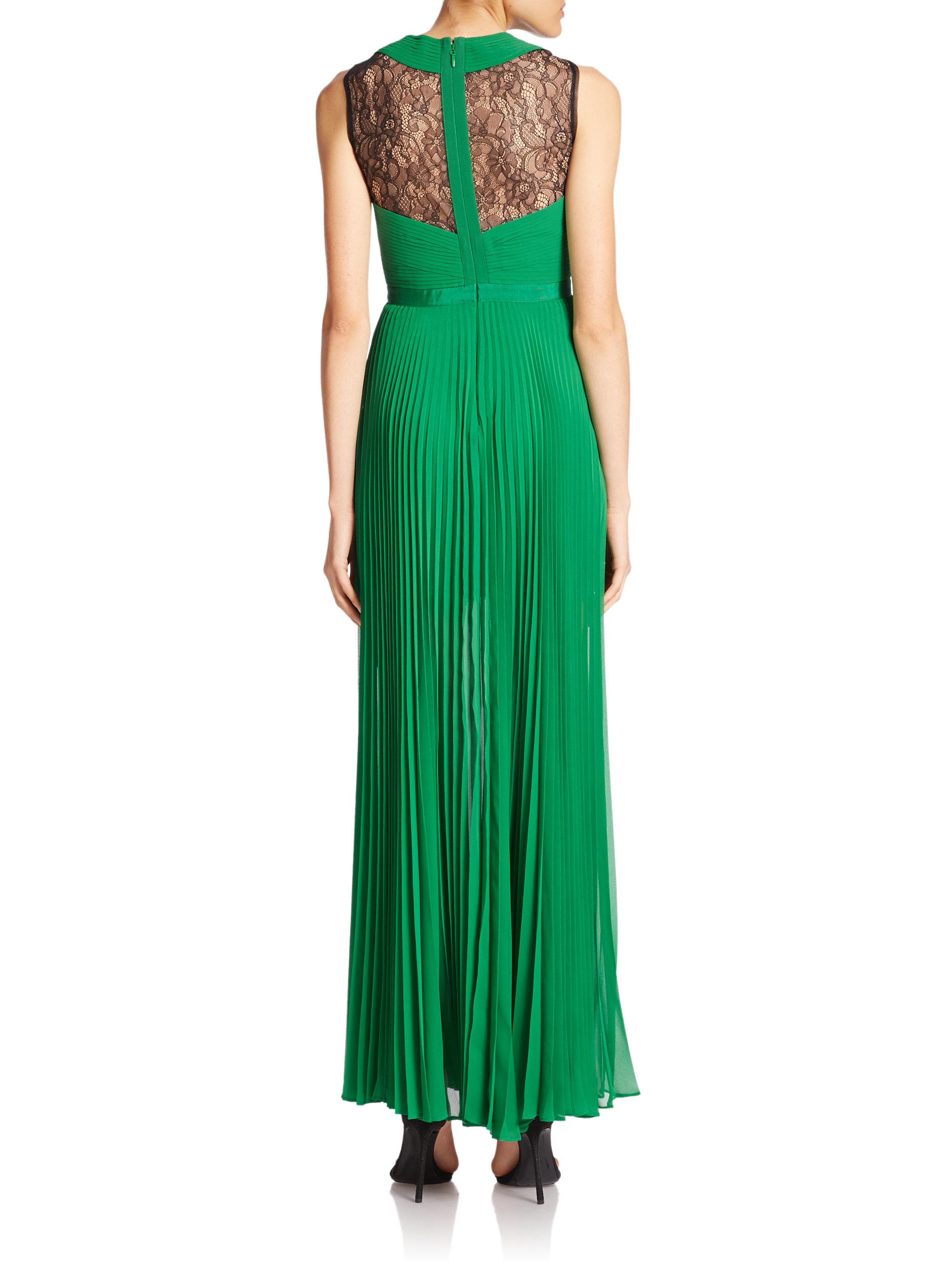 Lyst - Bcbgmaxazria Caia Pleated Illusion Dress in Green