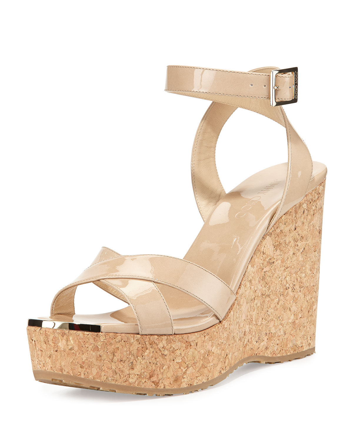 ff269346791 Lyst - Jimmy Choo Papyrus Patent-Leather Cork Wedges in Natural