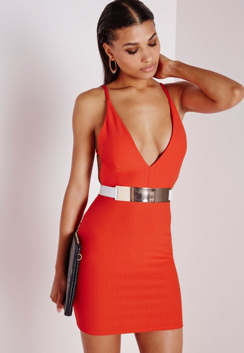 899ffc8b2090 Turmec » herve leger red plunge dress in crepe