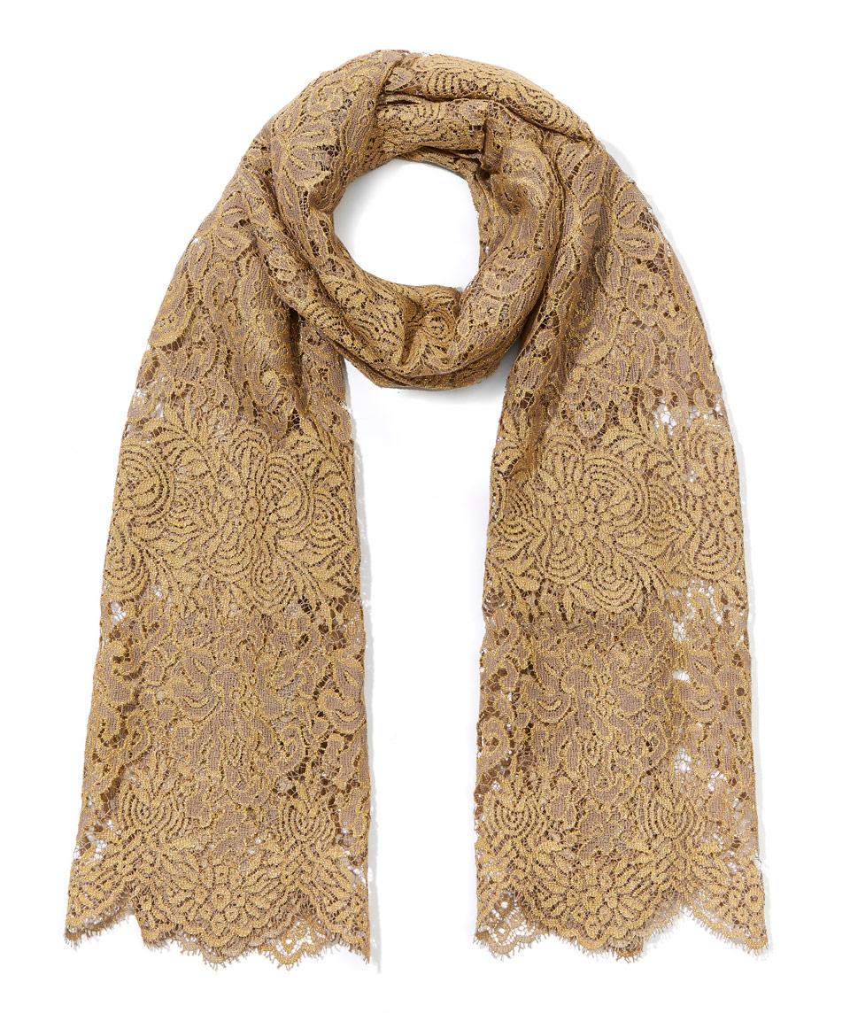 valentino gold lace cotton lurex scarf in metallic lyst
