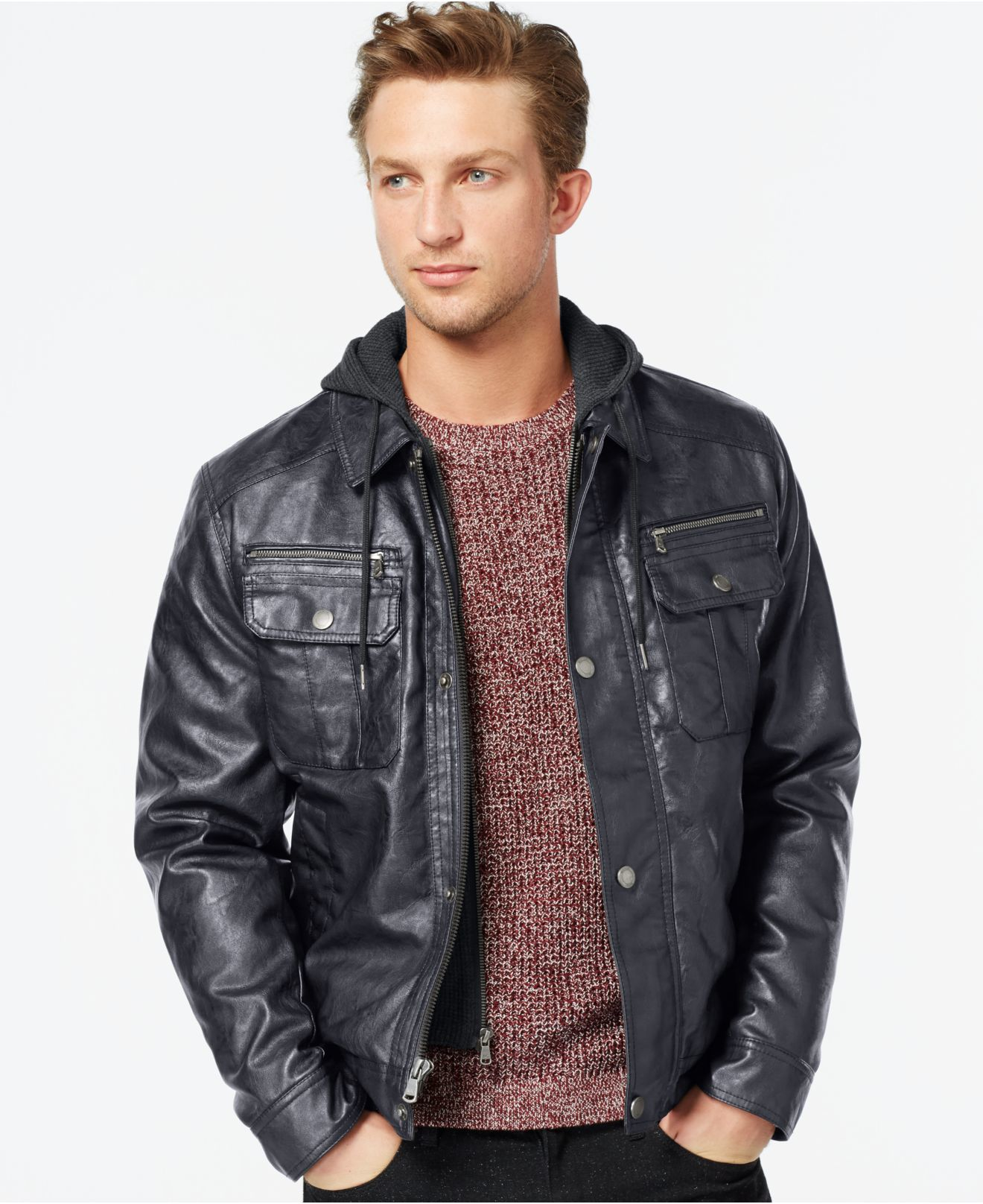 Fake leather jacket for men