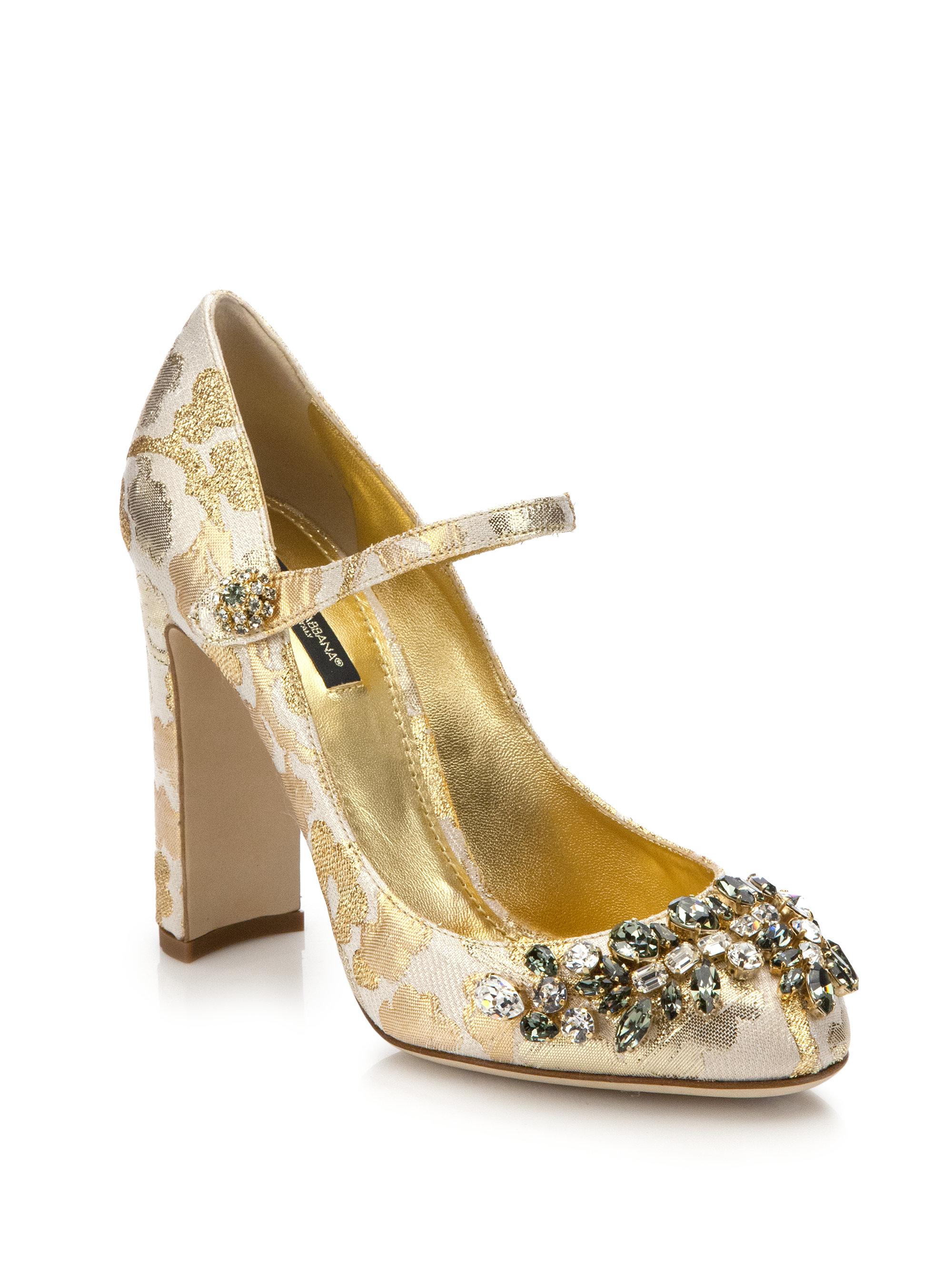 2776ae7af1c Lyst - Dolce   Gabbana Embellished Brocade Mary Jane Pumps in Metallic