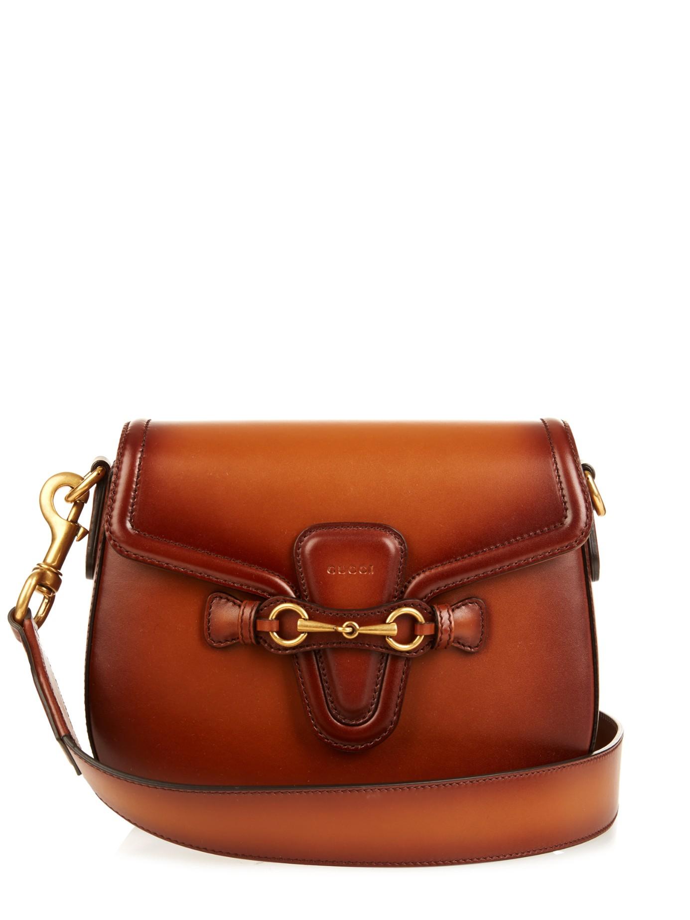 7ce222e901ab9b Gucci Lady Web Medium Leather Shoulder Bag in Brown - Lyst