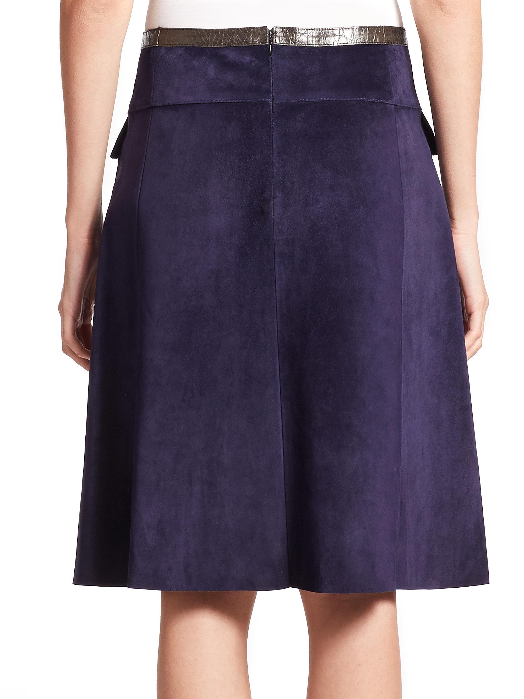 derek lam suede a line skirt in blue lyst