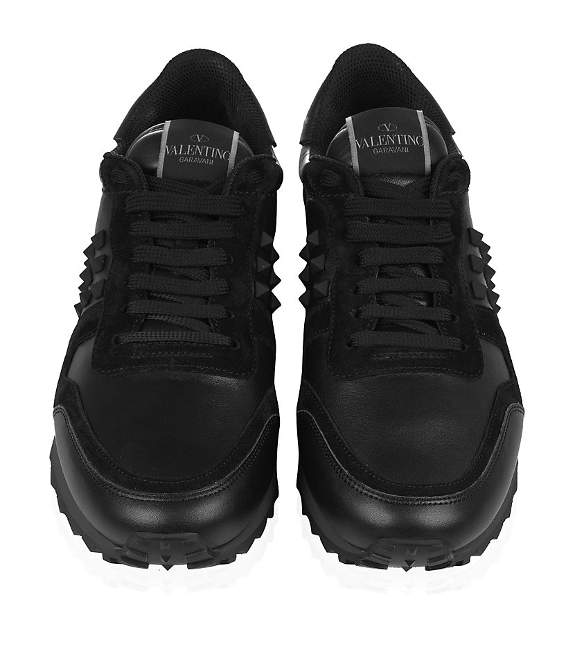 Valentino Leather And Suede Studded Trainers In Black For