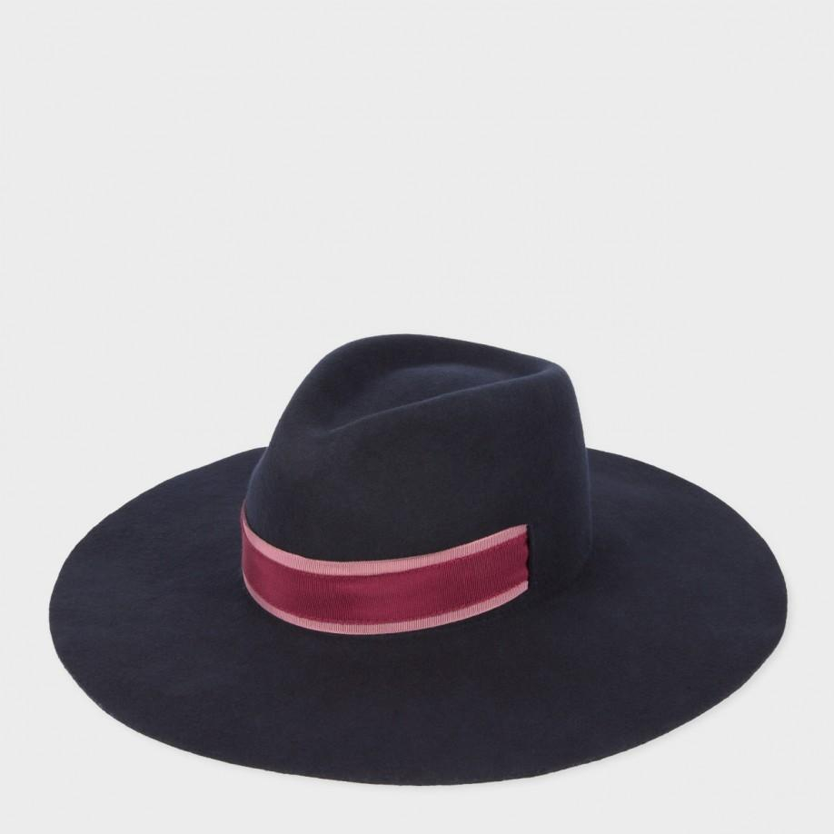 c0b78160acc3e Paul Smith Women s Navy Wool-felt Fedora Hat in Blue - Lyst