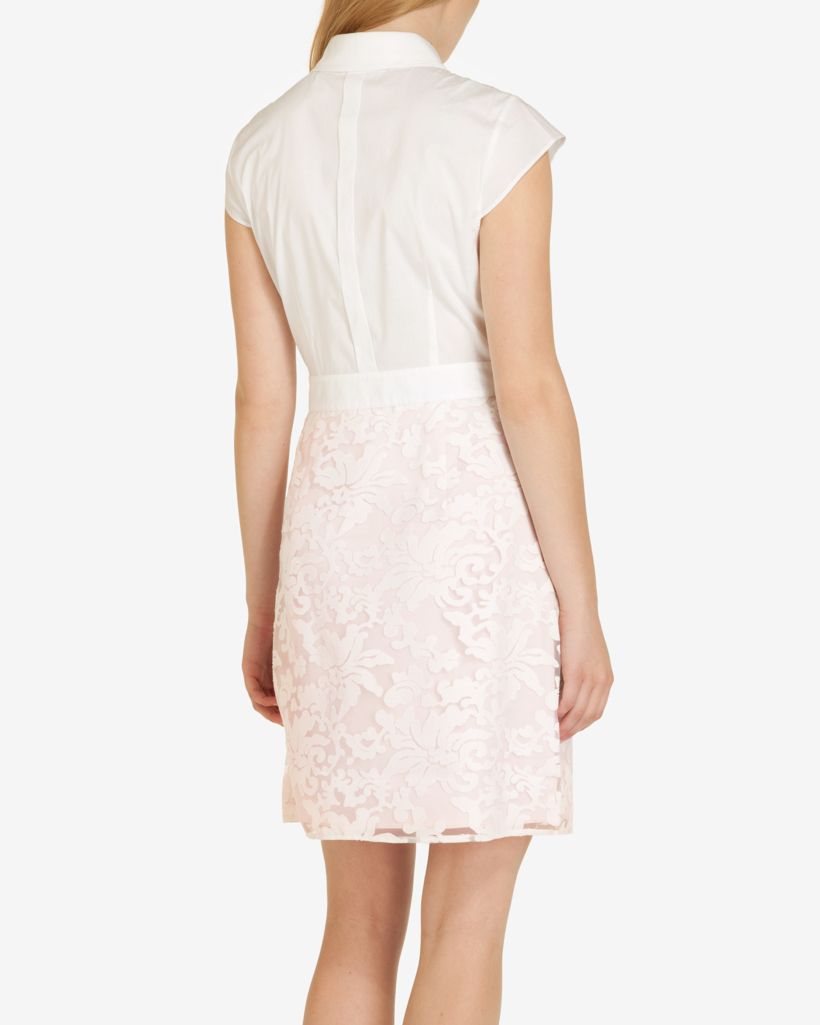 ted baker lace skirt shirt dress in white lyst