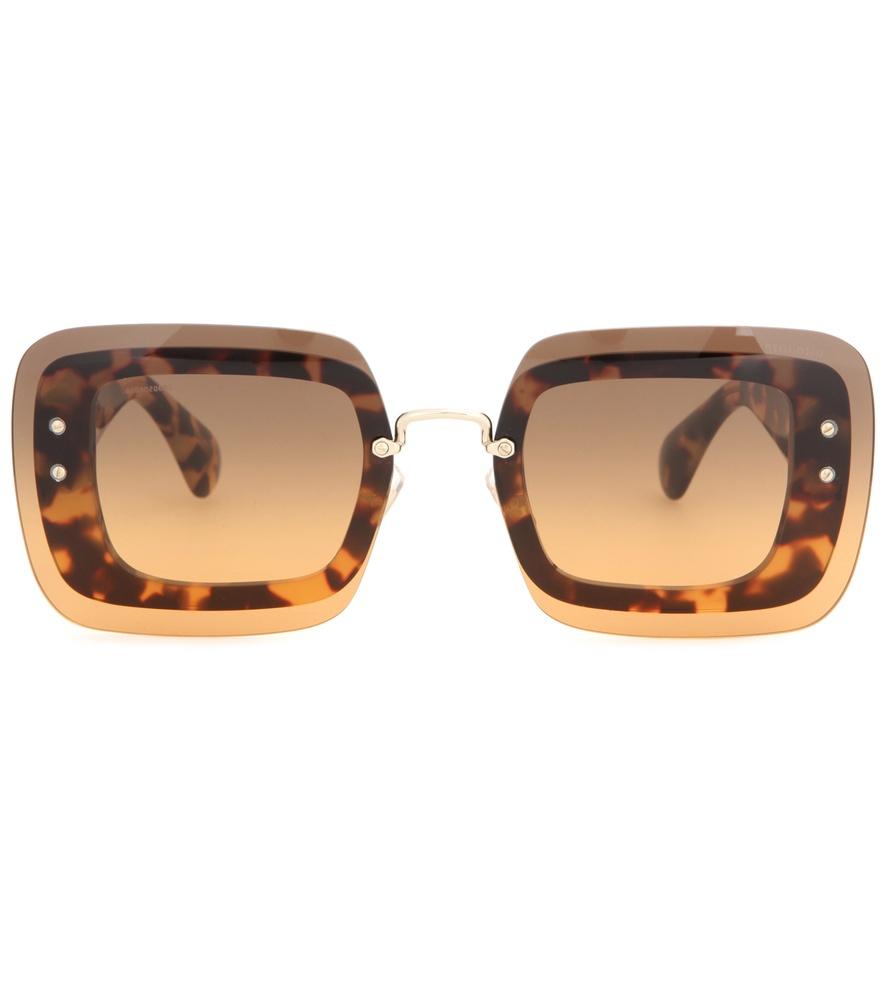 Miu Miu Square Sunglasses In Brown Lyst