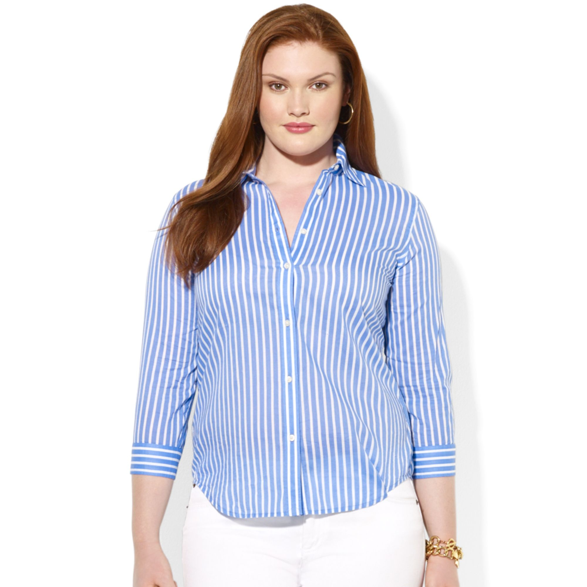 Lauren by ralph lauren plus size threequartersleeve for Plus size light blue shirt
