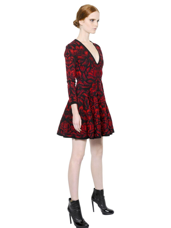 Lyst Alexander Mcqueen Stretch Wool Sheath Dress In Red