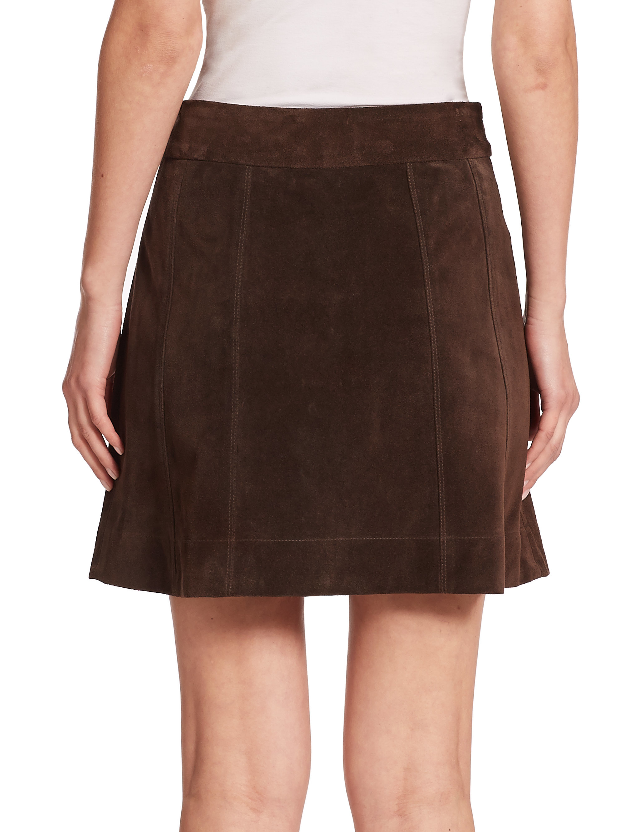 Lyst Frame Suede Mini Skirt In Brown