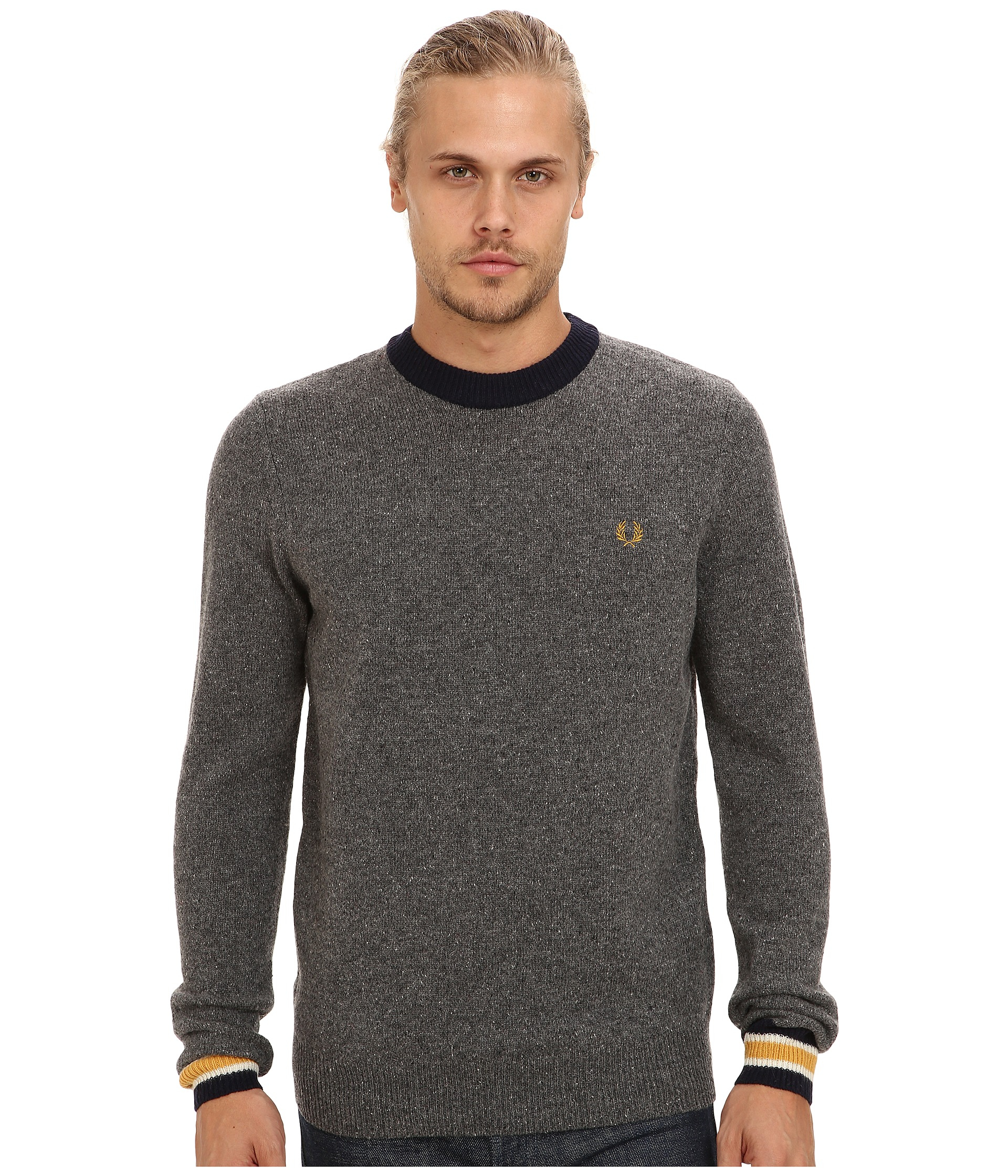 feb13da6d1aa3 Lyst - Fred Perry Fleck Knit Crew Neck Sweater in Gray for Men