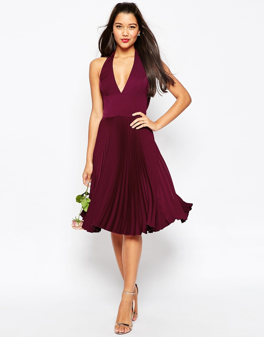 asos wedding drape back pleated midi dress in red lyst. Black Bedroom Furniture Sets. Home Design Ideas