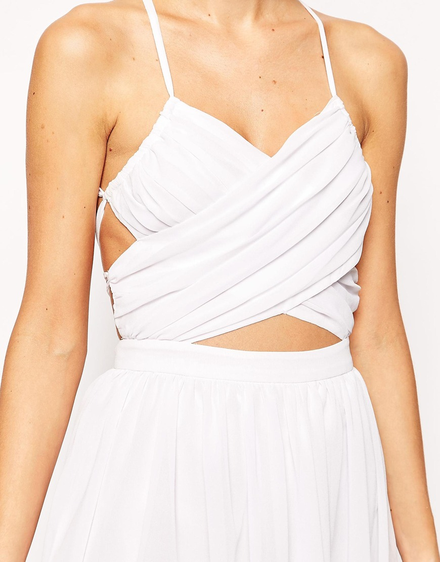 d645e29048bcf Lavish Alice Floaty Midi Dress With Wrap Lace Up in White - Lyst