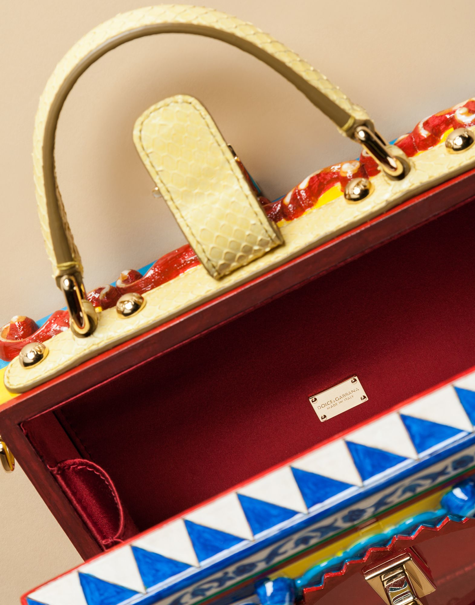 fe47fdfe899a Dolce   Gabbana Dolce Box Pasticceria Bag In Hand-painted Wood in ...