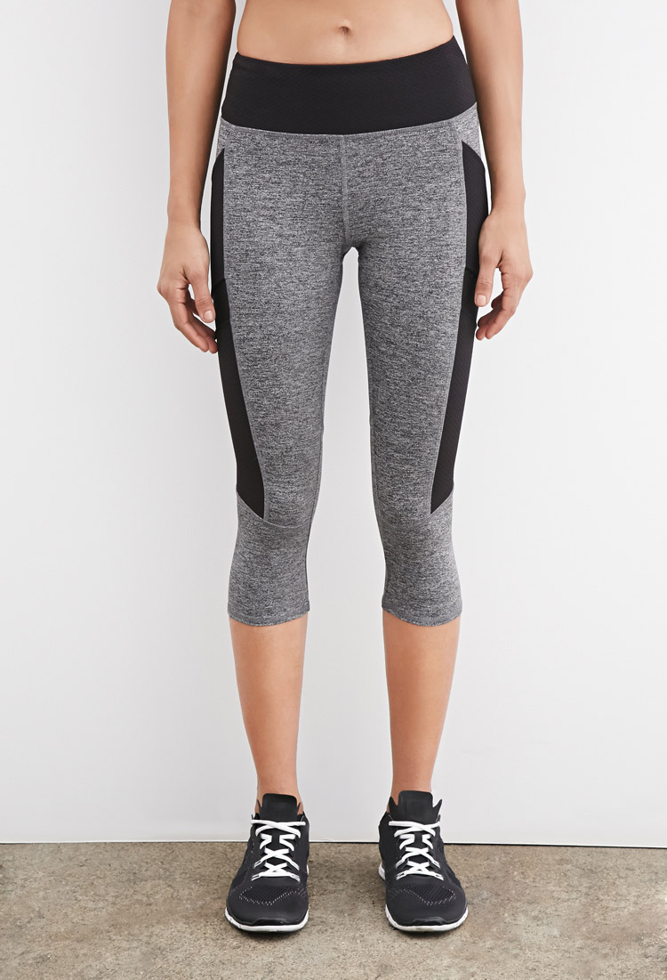 c3a283fe31 Forever 21 Heathered Texture-panel Capri Leggings in Gray - Lyst