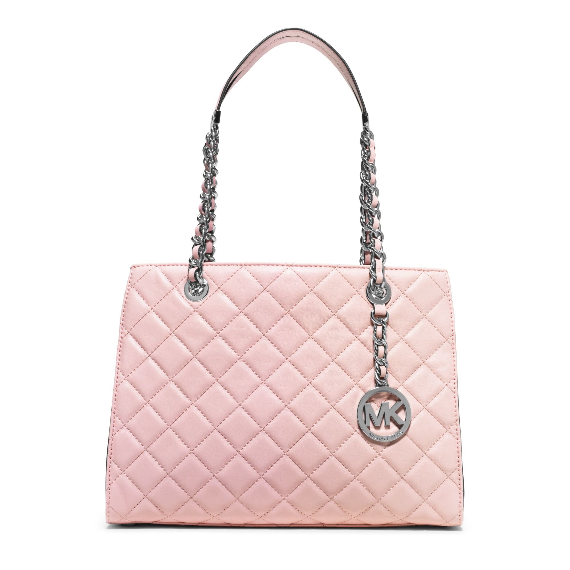 c6f47be0b3ee Lyst - Michael Kors Susannah Medium Quilted-Leather Tote in Pink