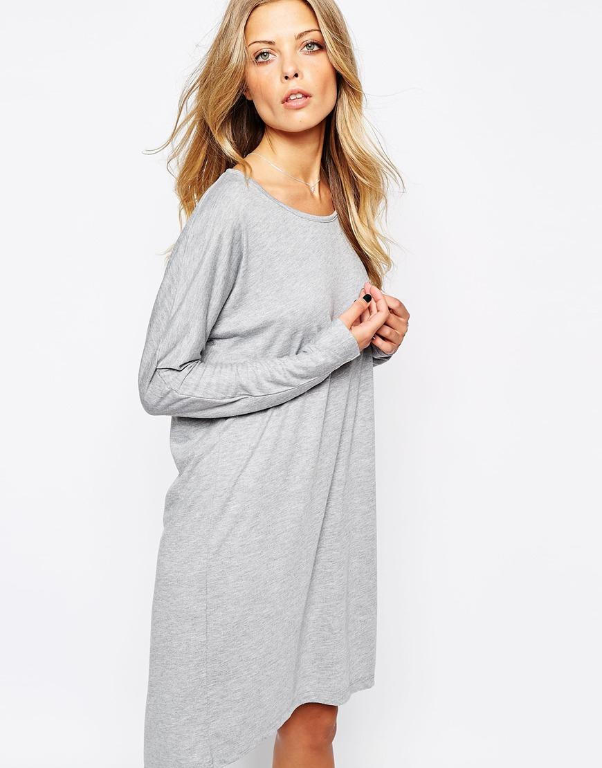 Vila Long Sleeve T-Shirt Dress in Gray | Lyst