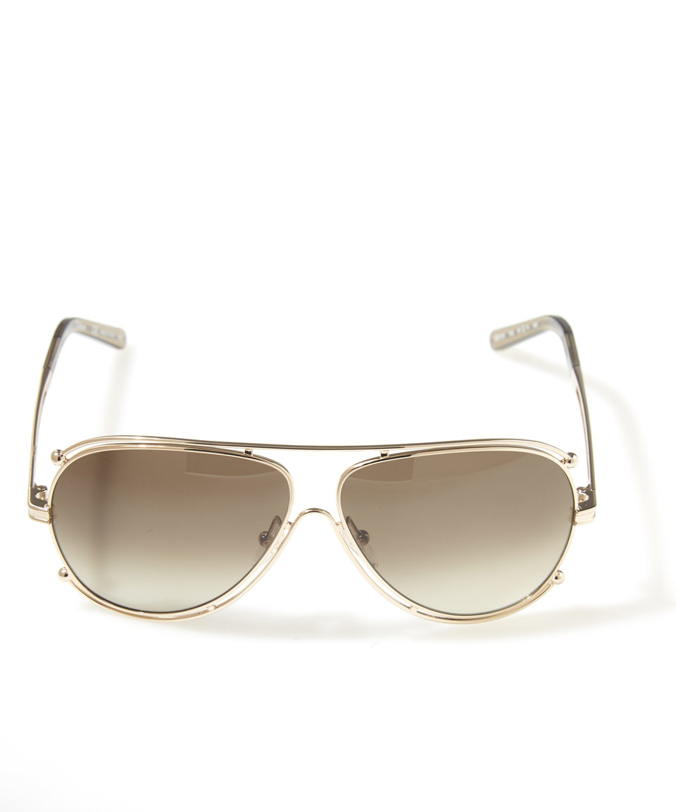 19c0d60eb34f Chloé Gold Isadora Aviator Sunglasses in Metallic - Lyst