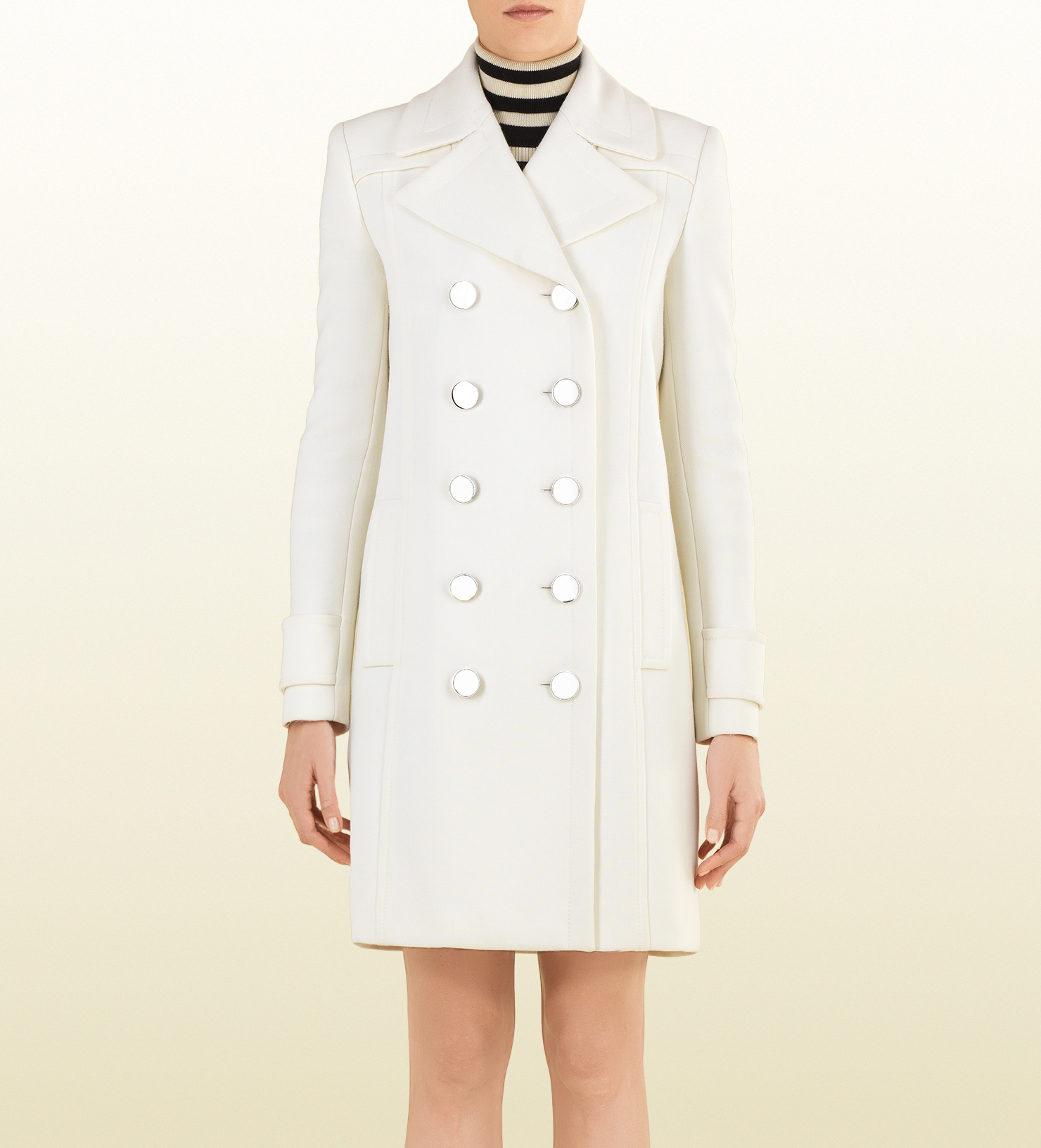 3460d5697 Gucci White Wool Coat in White - Lyst