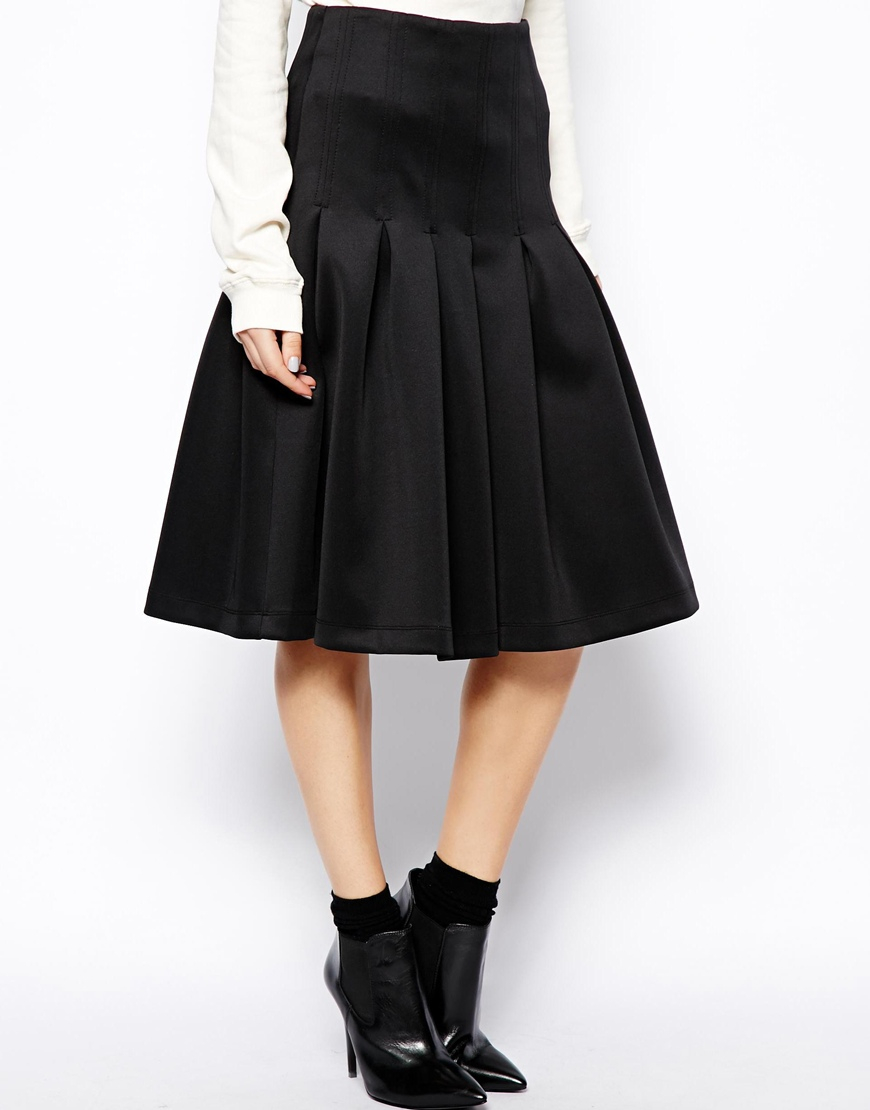 asos midi scuba skirt with pleats in black lyst